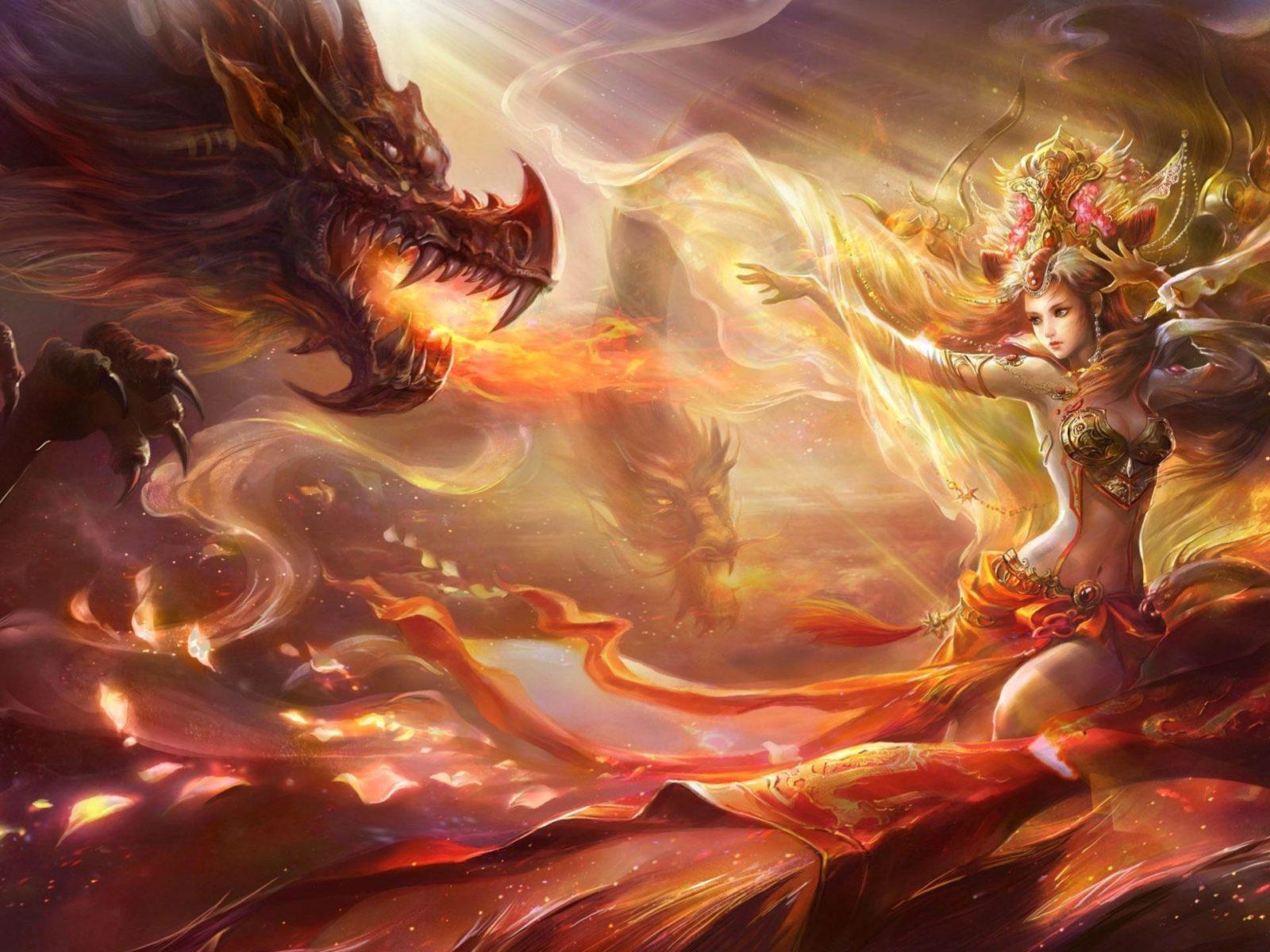 Winter Anime Girl Wallpaper Dragon Fantasy Art Artwork Wallpaper Background 331511