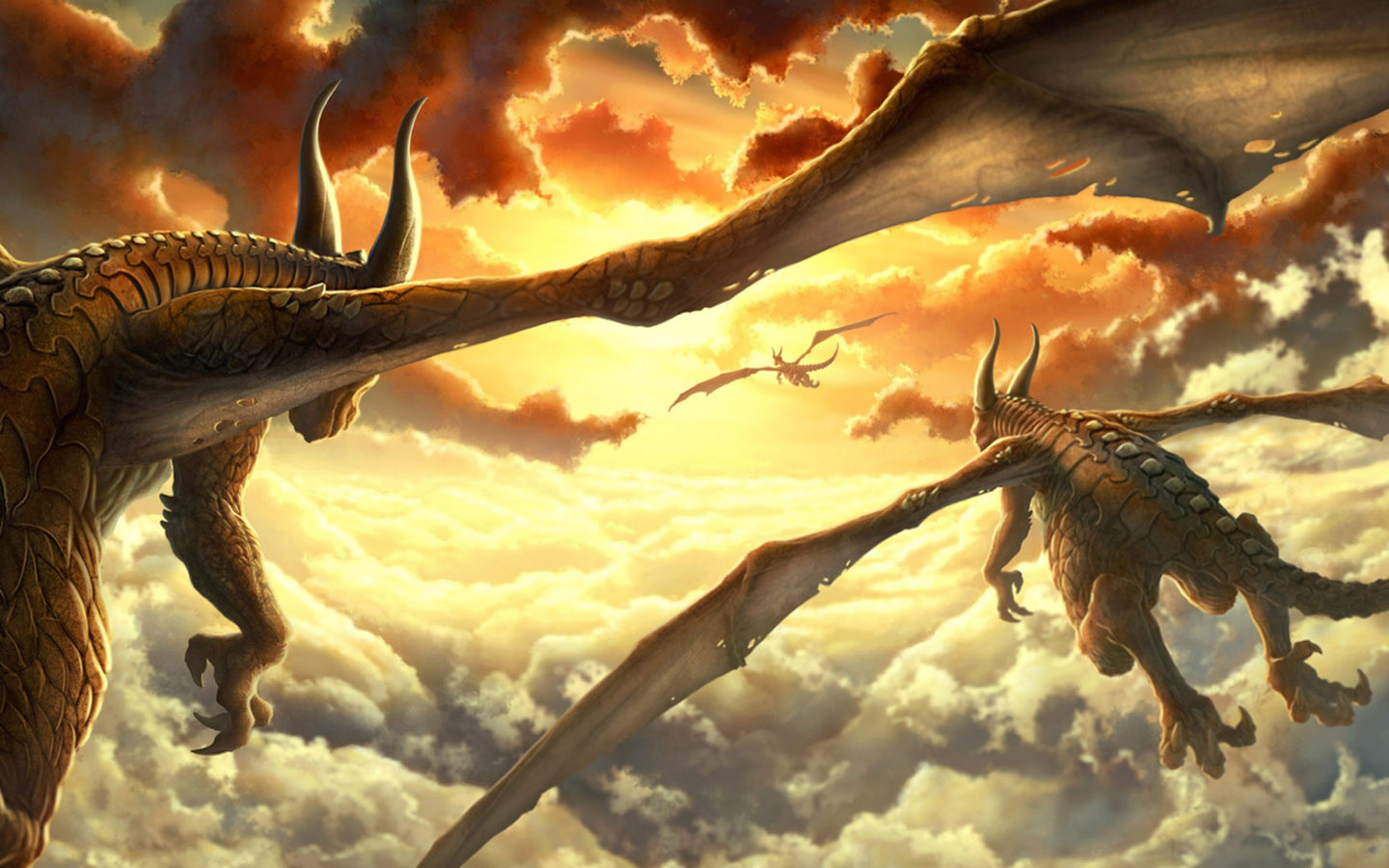 Epic Fantasy Girl Wallpaper Dragons Clouds Drawing 1920x1080 Wallpapers13 Com