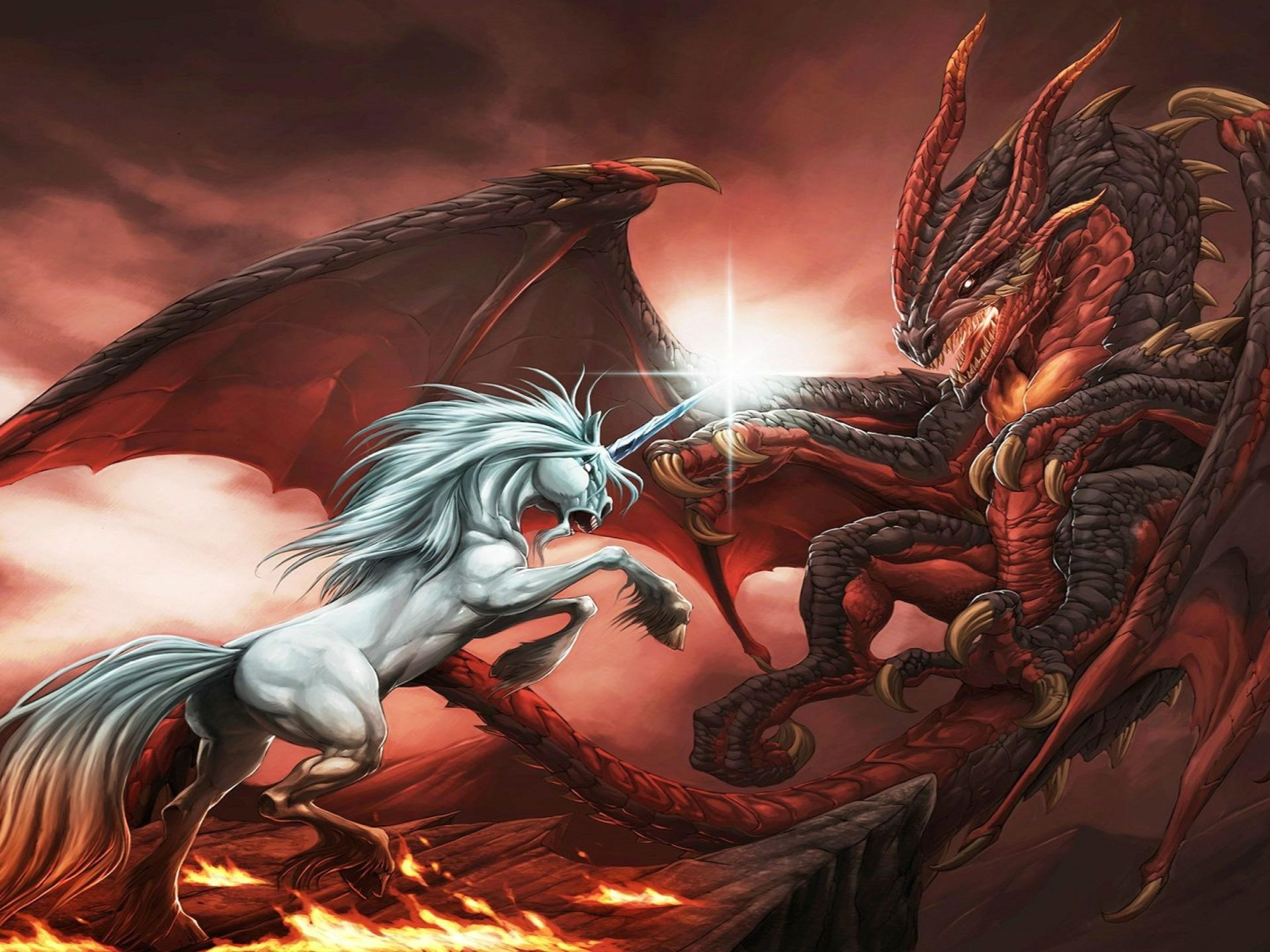 The Every Girl Wallpaper Fantasy Dragon Unicorn War Abstract Ultra 3840x2160 Hd