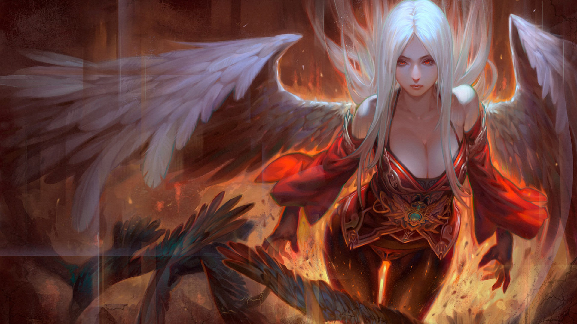 Cute Korean Girl Desktop Wallpaper Girl Angel White Hair Angel Wings And Red Eyes Fire Art