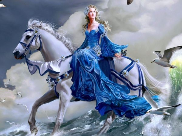 Girl Riding Horse Water 2560x1440 Fantasy Wallpaper 28685
