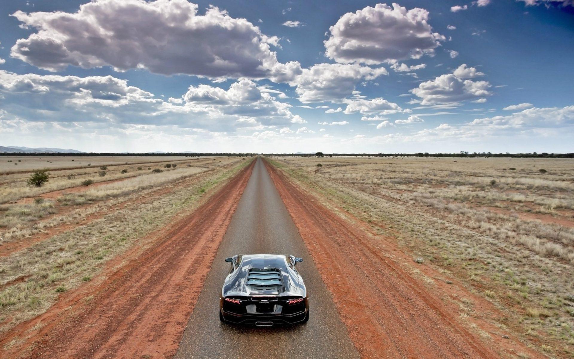 Windows D Wallpaper Lamborghini Aventador On Empty Country Road Wide