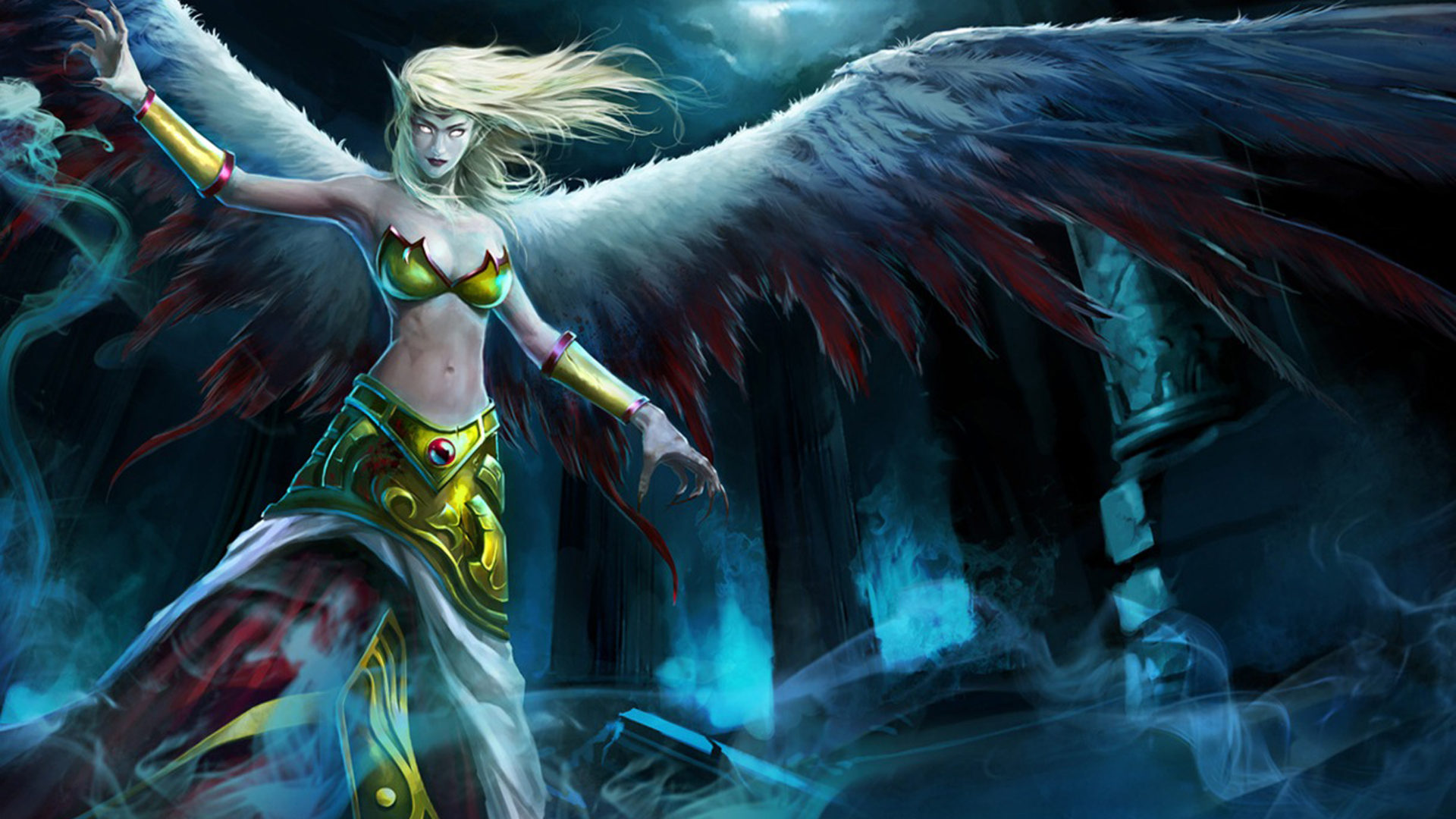 Colourful Wallpapers Hd For Android League Of Legends Video Games Fallen Angel Exiled Morgana