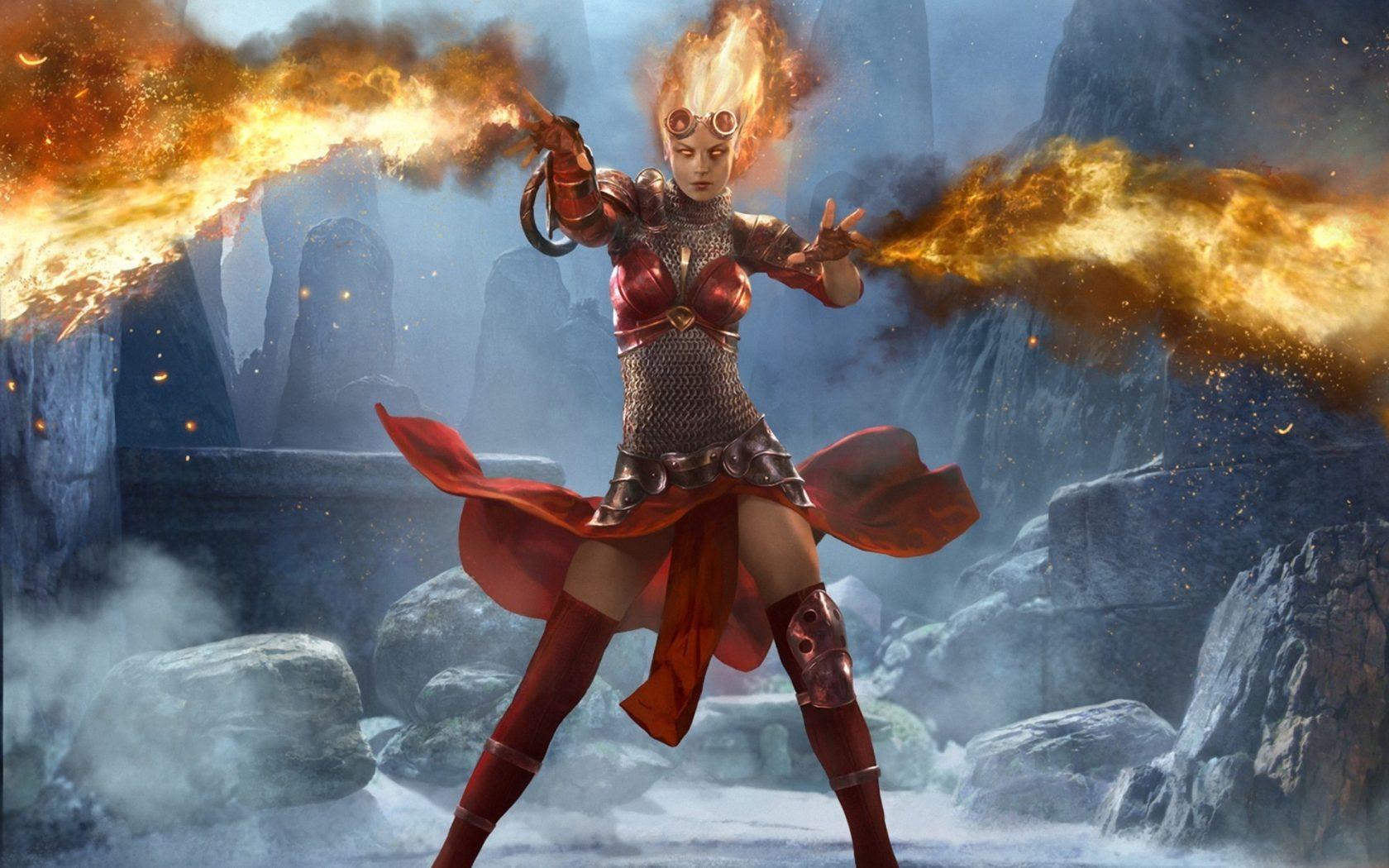 Warrior Girl Wallpaper Magic The Gathering Fire Armor Games Girl Wallpapers13 Com