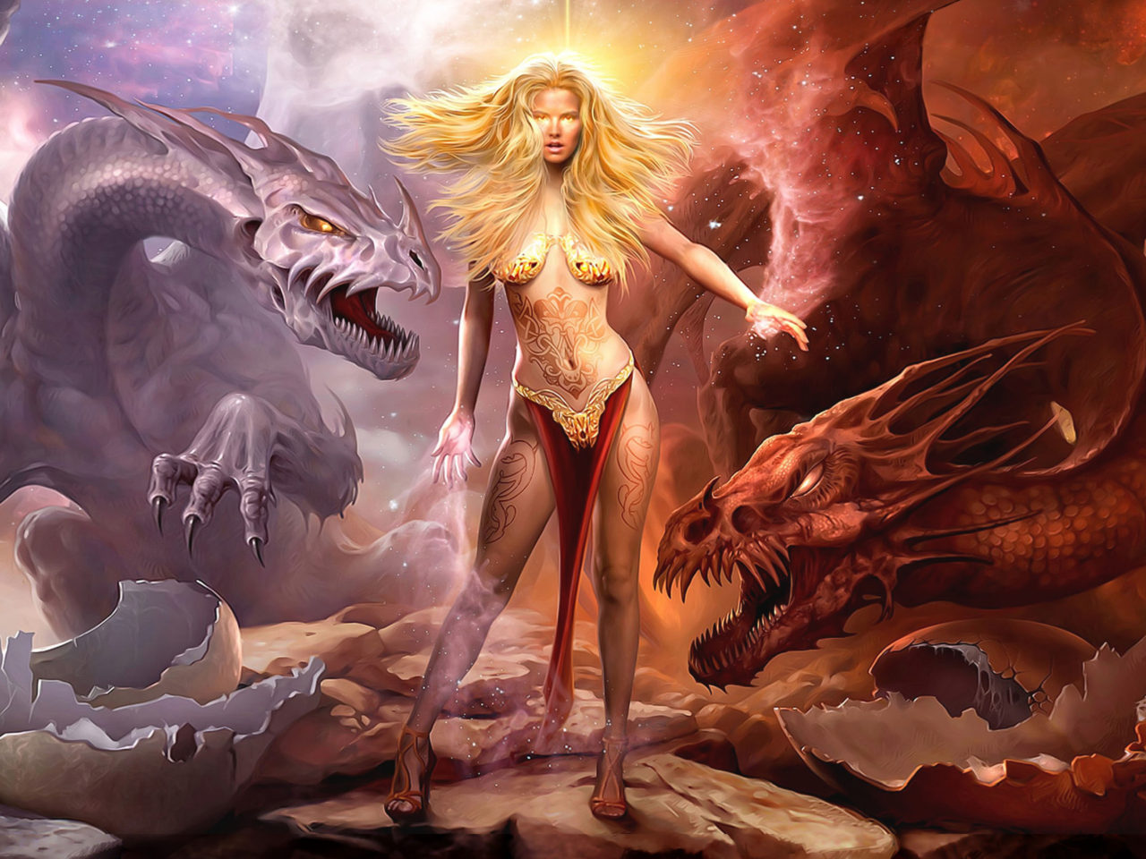 Girl Hd Desktop Wallpaper Queen Of Dragons Girl Dragons Fantasy Art Hd Wallpaper