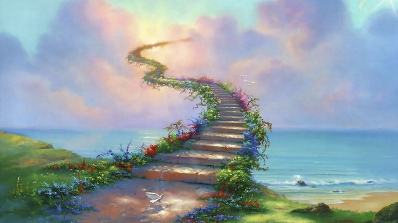 Eagle Wallpaper Iphone X Stairway To Heaven Path Dove Clouds Abstract Ultra