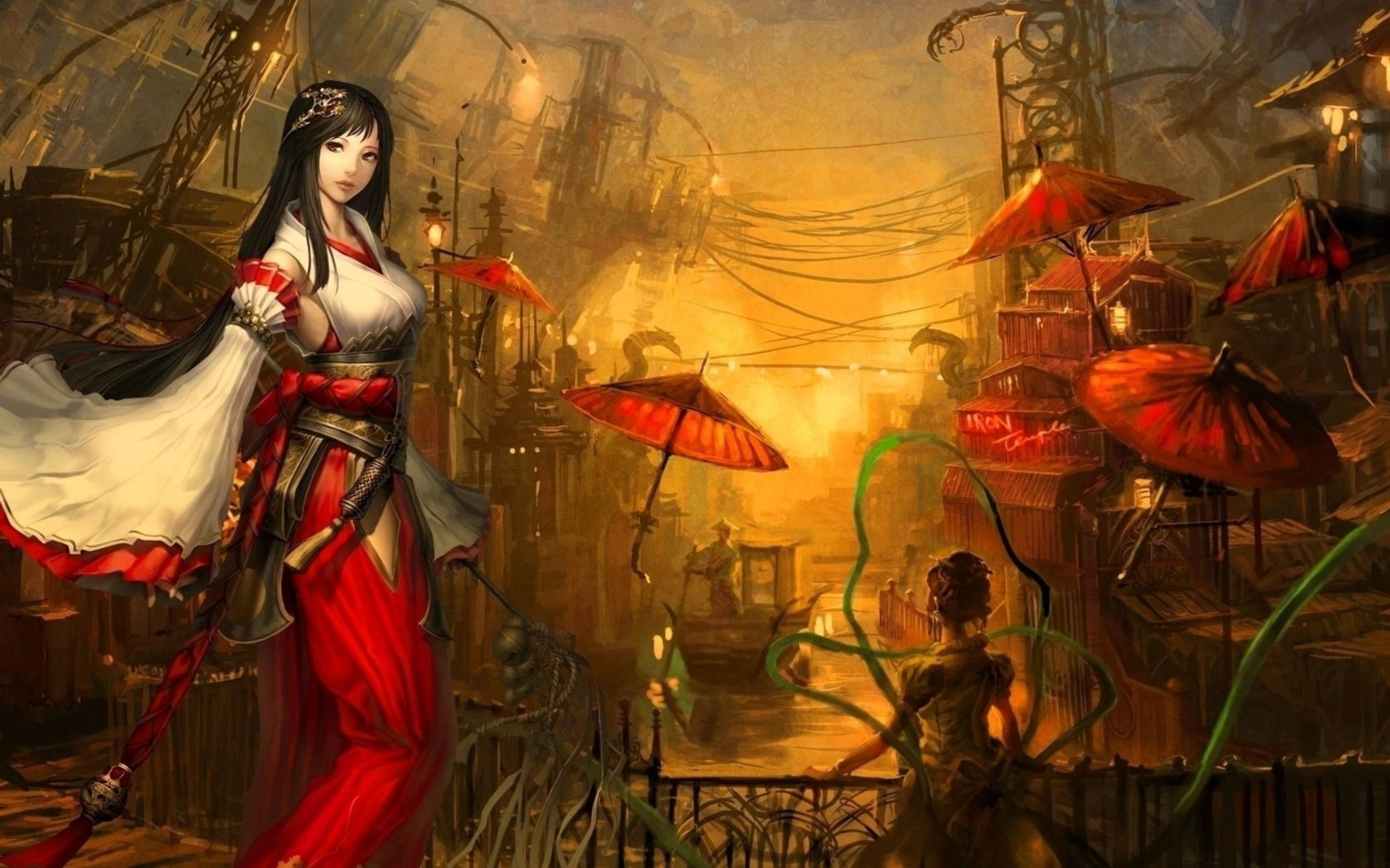 Free Fall Wallpaper With Animals Wallpaper Girl Brunette Passion Weapons Umbrellas