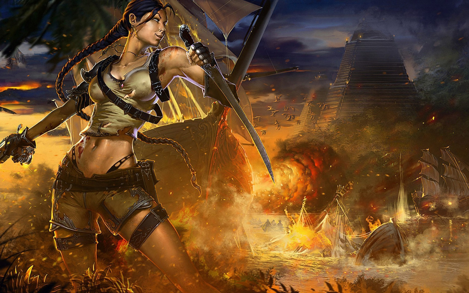 Final Fantasy Wallpaper Iphone X Warriors Fantasy Girls Tomb Raider Lara Croft Battle