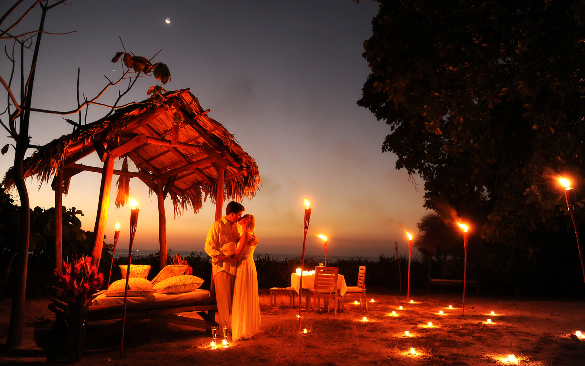 Wedding Night Kiss Romance Light Torches Wallpapers13 Com