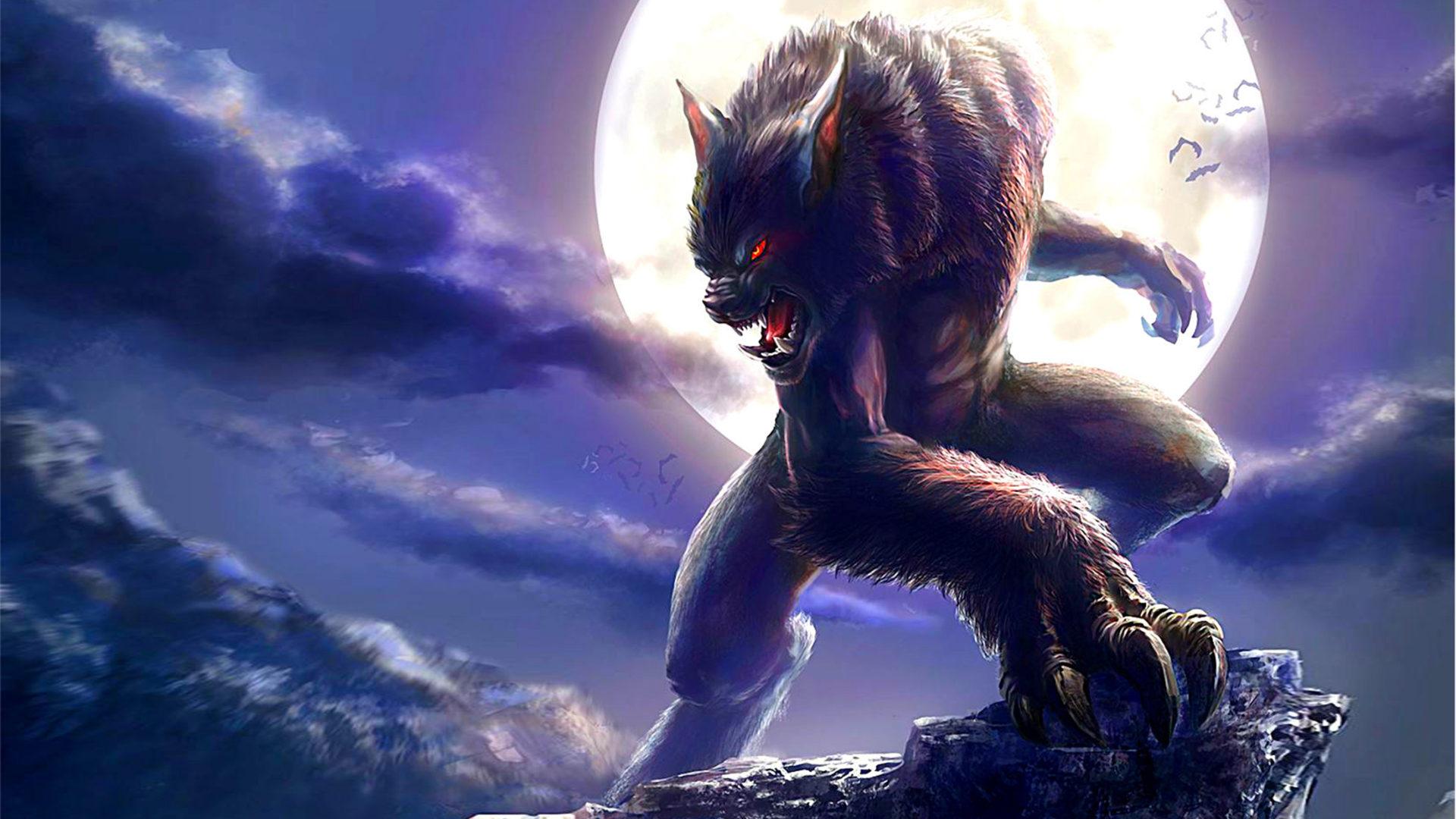Wallpaper Pc Girl Dark Elf Werewolf Full Moon Fantasy Wallpaper For Desktop