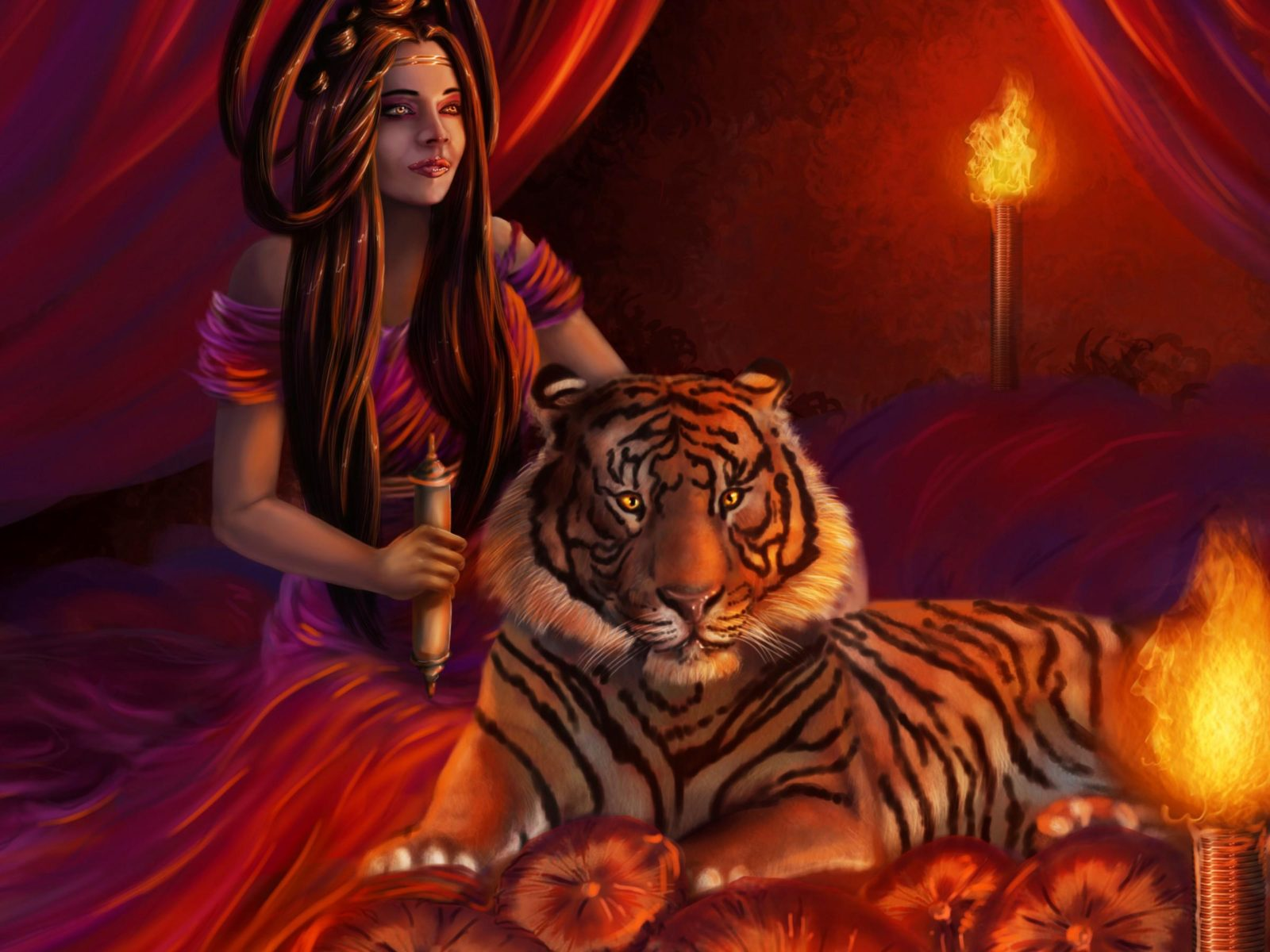 Red Dragon Girl Wallpaper Woman With Tiger 1476479 Wallpapers13 Com