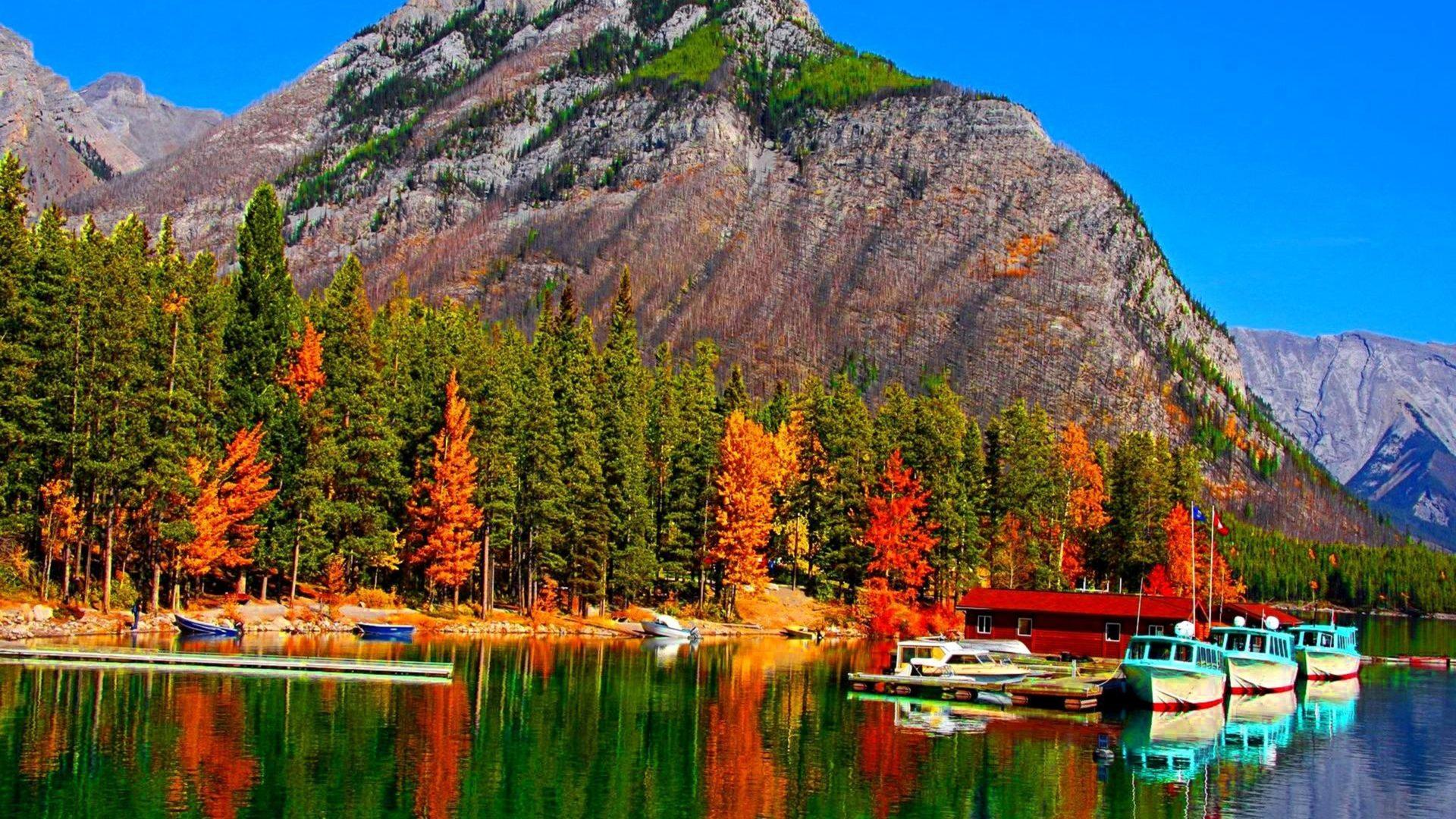 Fall Foliage Deskt Op Wallpaper Fall Colors On Lake Banff In Canada Boats Hd Wallpaper