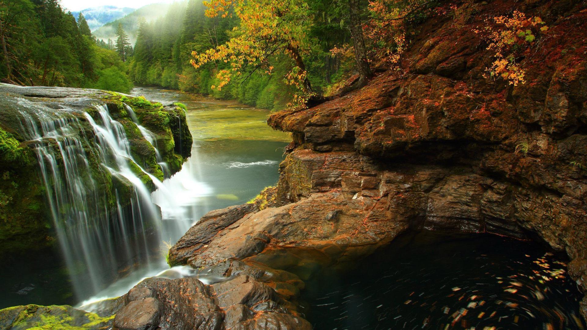 Kuang Si Falls Hd Wallpaper Lewis River Falls At Gifford Pinchot National Forest