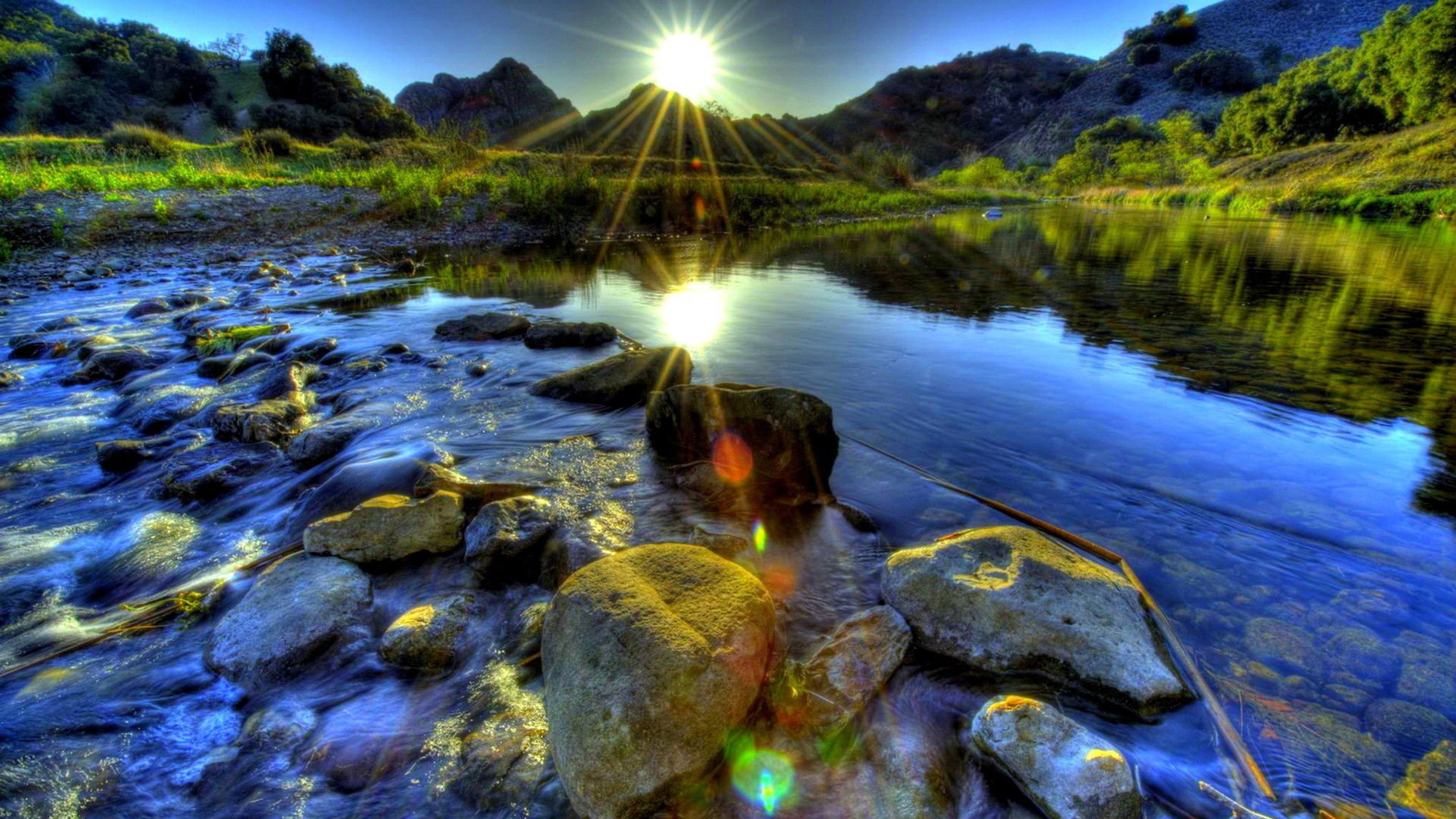 Windows 10 Fall Usa Wallpapers 4k River Stones Background Sunset Hdr 1920x1080 Wallpaper
