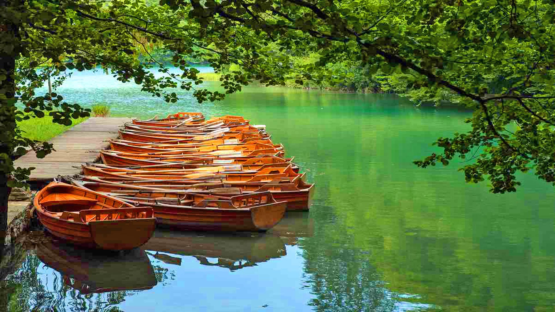 3 Creen Wallpaper Fall Boats At Plitvice Lakes National Park Croatia