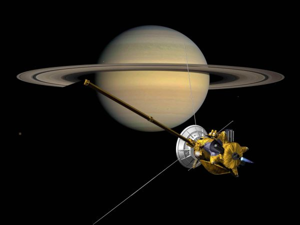 Probe Cassini-front Of Planet Saturn With Rings-desktop Wallpaper Widescreen Hd Resolution