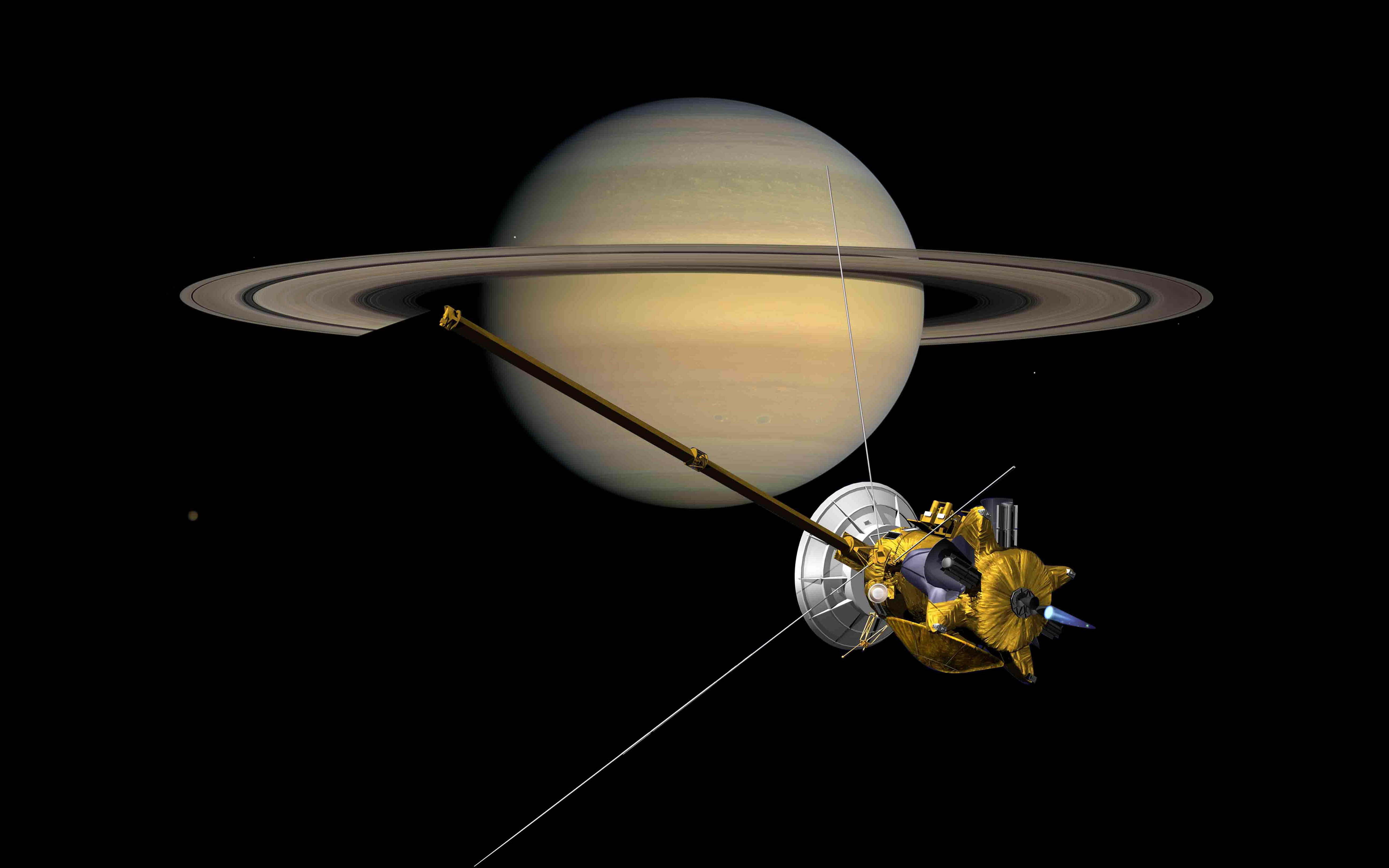 Futuristic Iphone X Wallpaper Probe Cassini Front Of The Planet Saturn With Rings