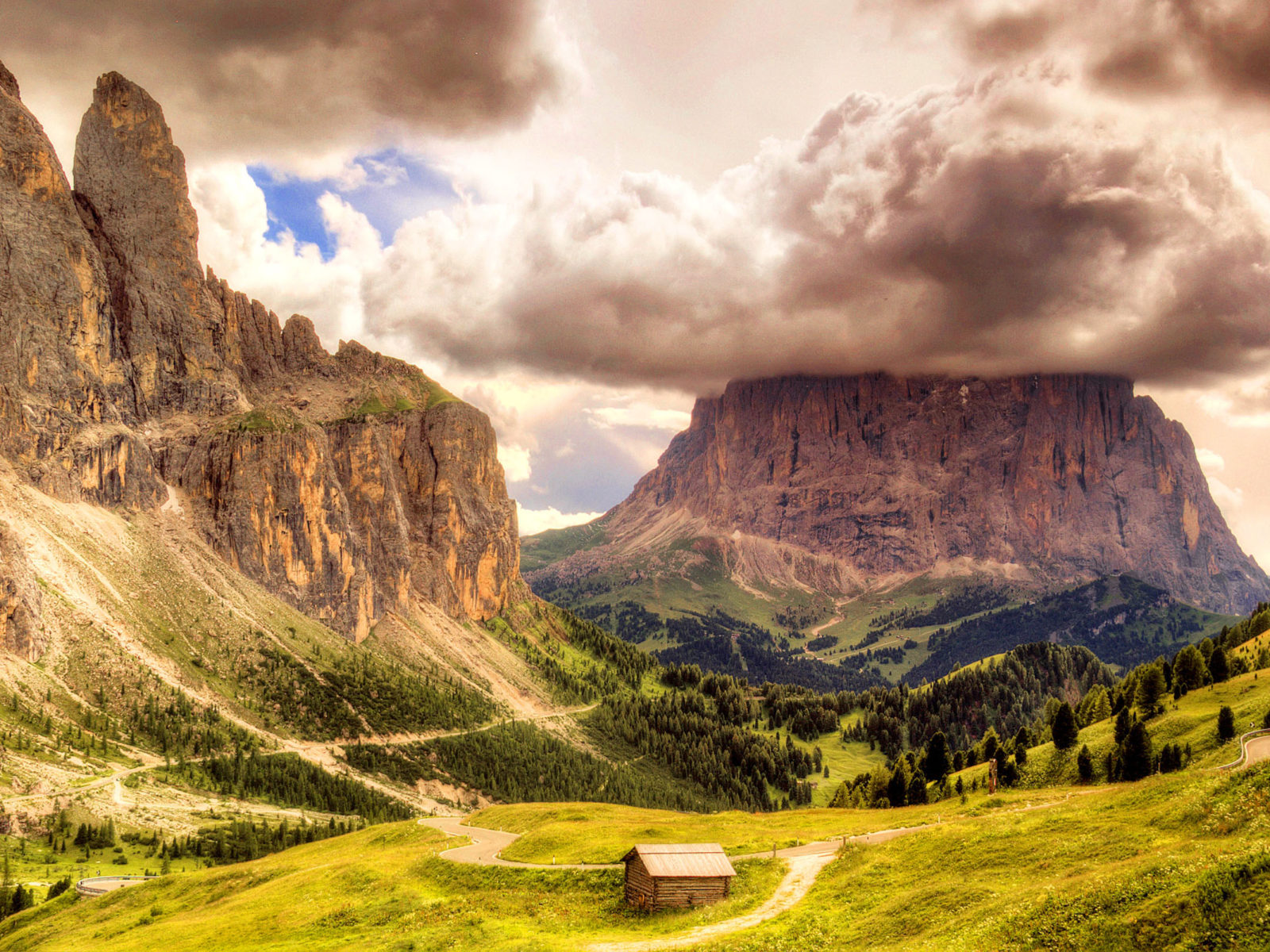 Wallpapers For Desktop Fall Colors Rock Clouds Clouds Wooden Hut Wallpaper Dolomites Sella