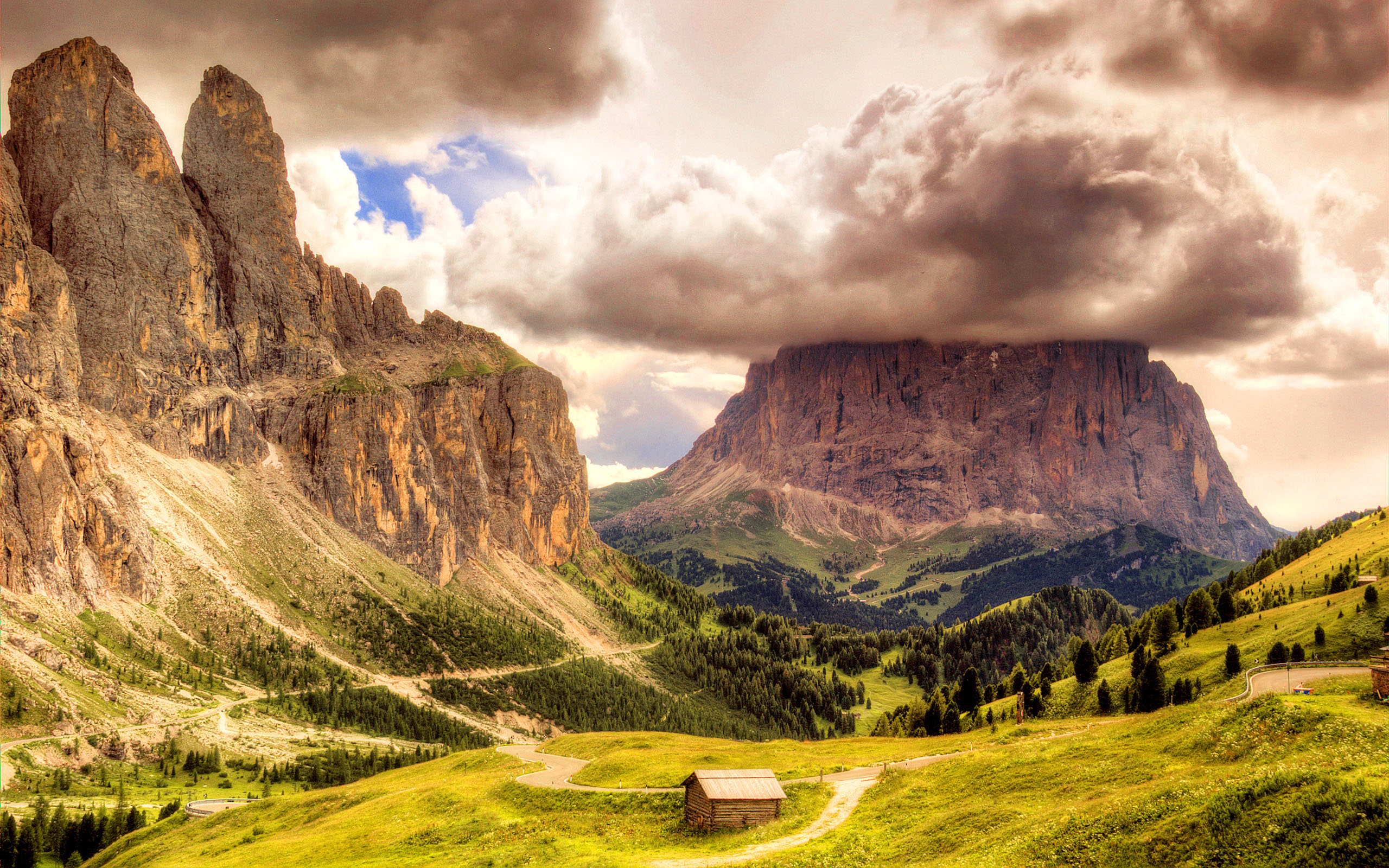 Rock Clouds Clouds Wooden Hut Wallpaper Dolomites Sella