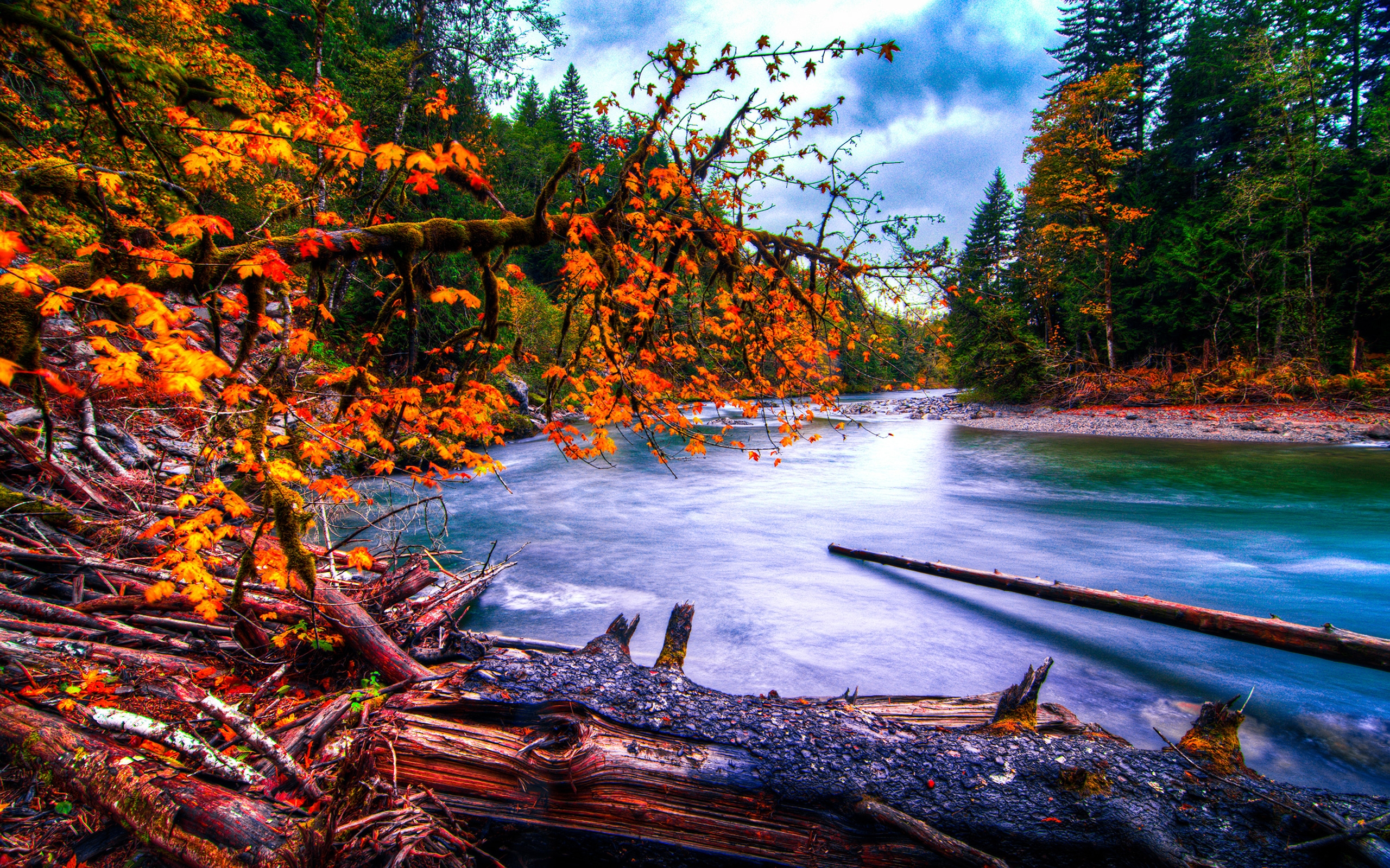 Fall Wallpaper For Desktop Background Snoqualmie River In Washington At Autumn Hdr Hd Desktop