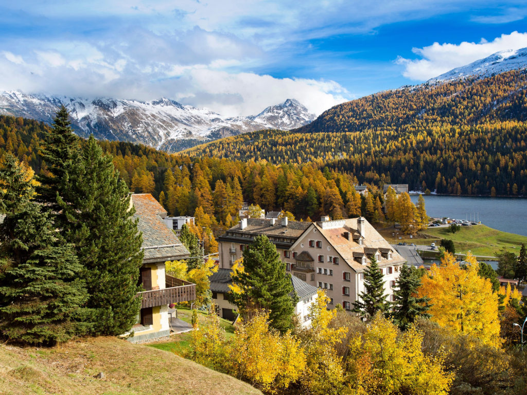 Tablet Wallpaper Europe Fall Switzerland Houses Scenery Mountains St Moritz Trees