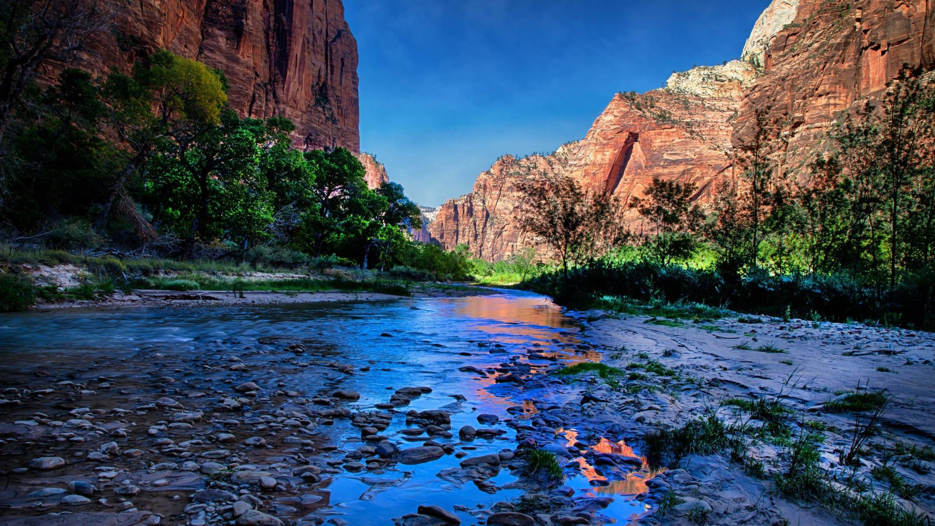 Wallpaper Images Of Mountains In Fall Usa Parks Water Mountains Zion Hdr Nature River Wallpaper