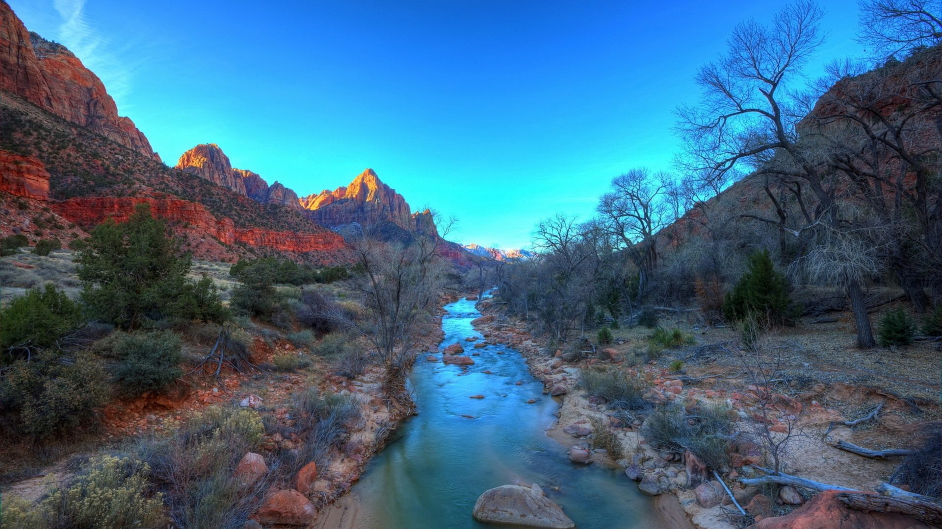 Pop Art Wallpaper Iphone Virgin River Zion National Park Landscape Mountains Sky