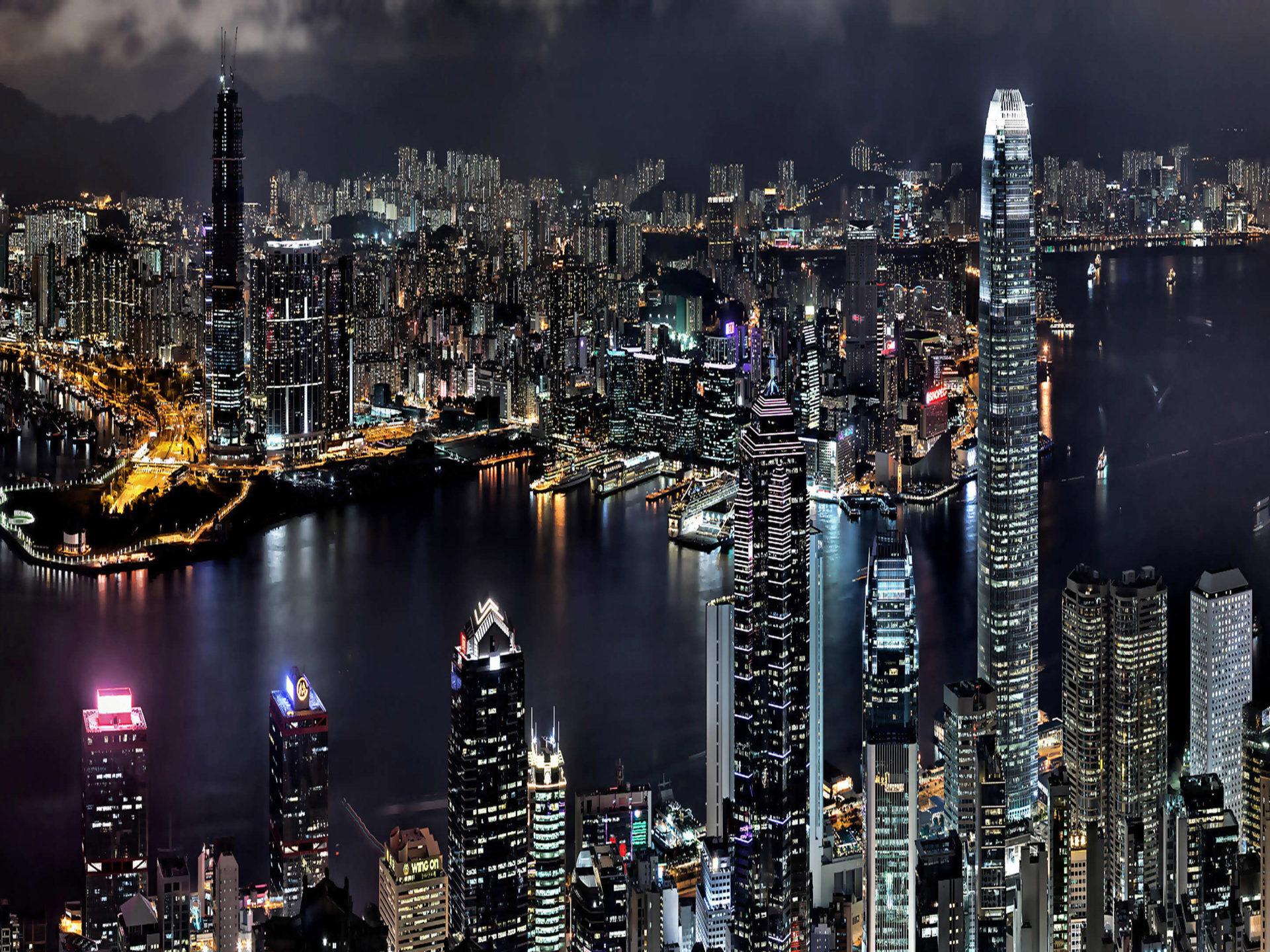 City Skyline Wallpaper Hd Asia City Hong Kong In China Look At Night Bay Boats
