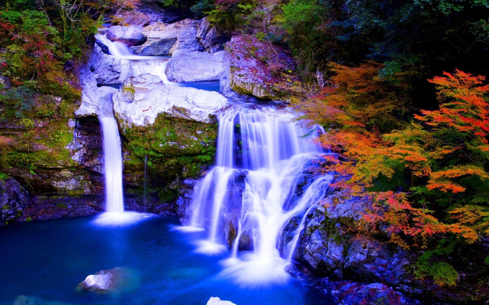 4k Christmas Wallpaper Iphone X Autumn Paradise Nature Foreset Waterfalls Hd Wallpaper