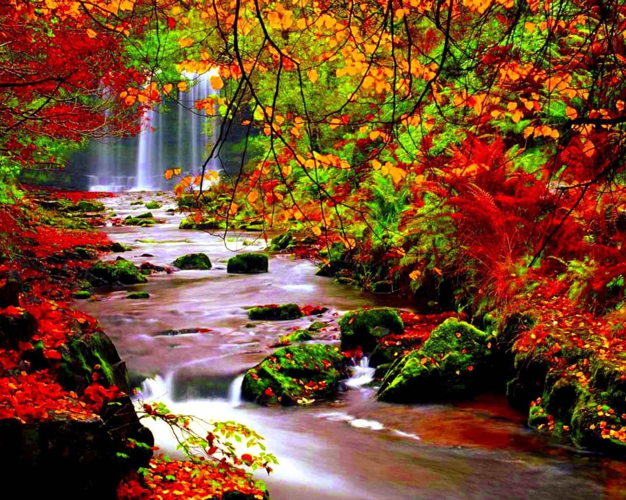 Fall Pc Wallpaper Free Autumn Scenery Stream River In Autumn Trees With Red