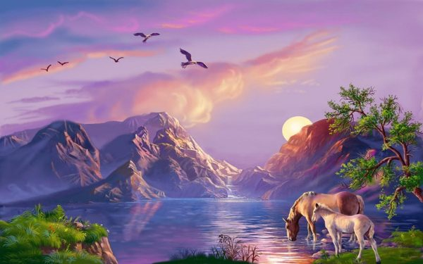 Beautiful Fantasy Art Background Mountain Ezero.konji Sun Birds 1421751