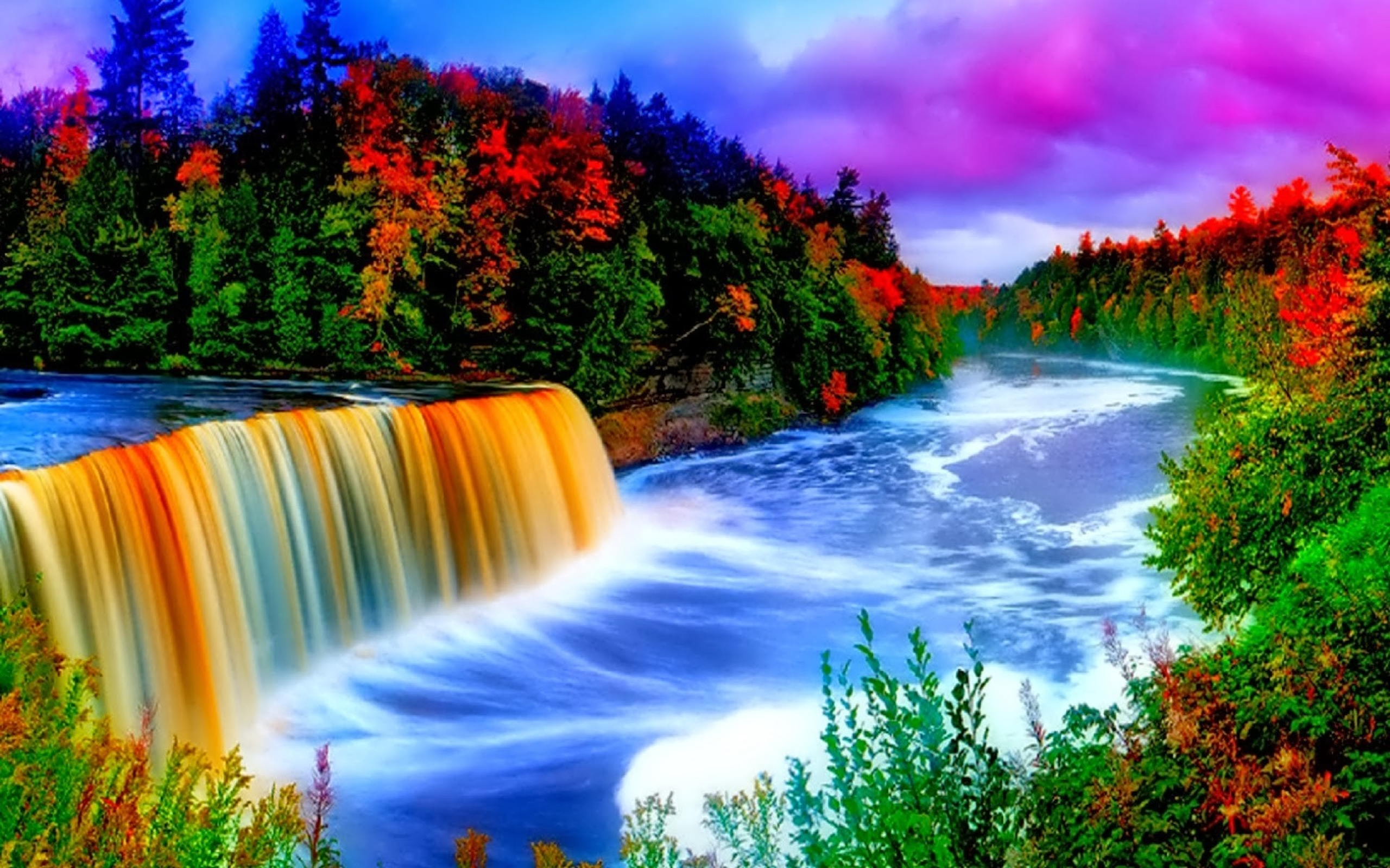 Christian Fall Iphone Wallpaper Colorful Waterfall Background 9665 Wallpapers13 Com