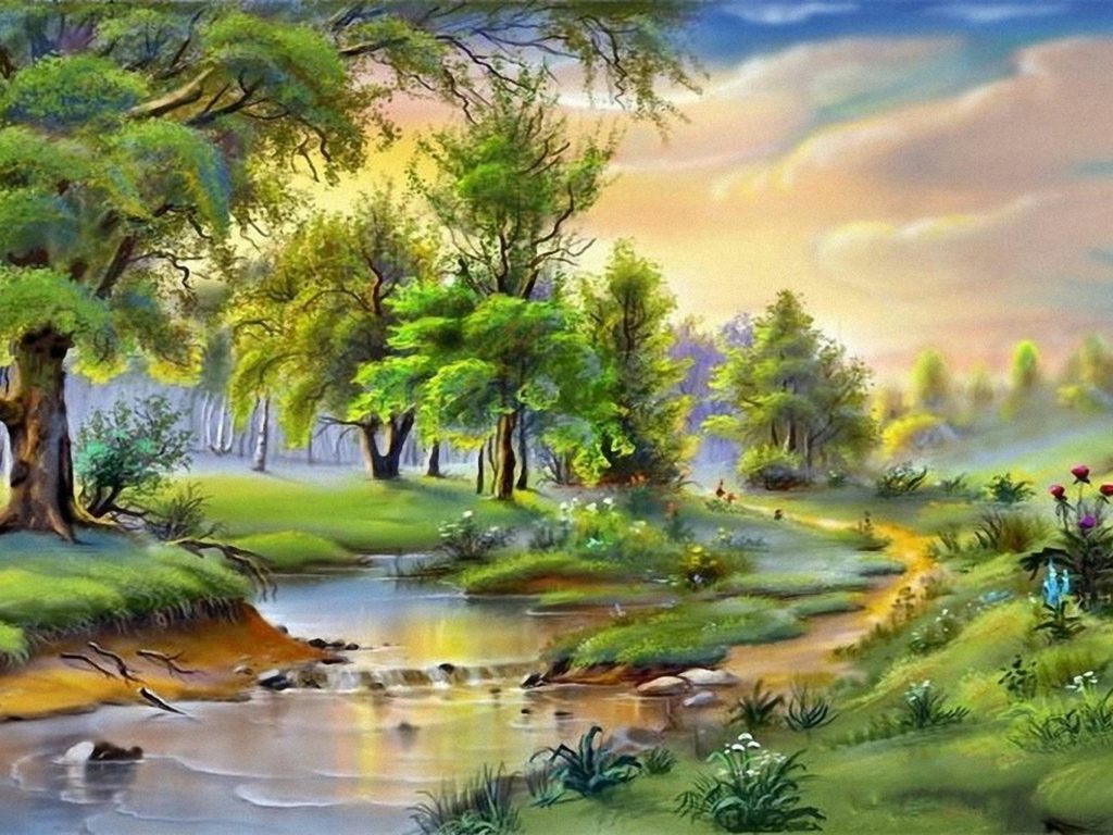 Beautiful Fall Paintings Wallpapers Download Wallpaper Landscape River Trees 0594746