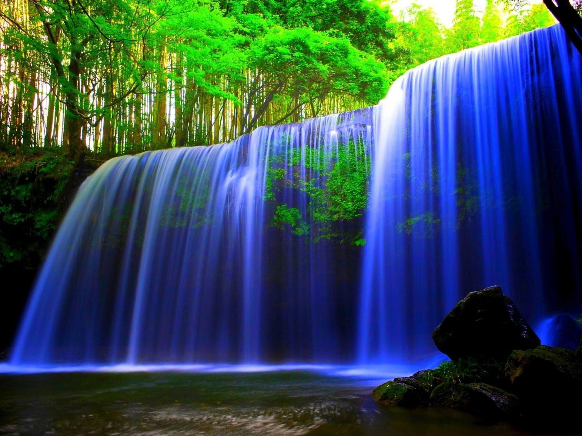 Fall Laptop Wallpaper Glowing Blue Waterfall Wallpaper Hd Wallpaper