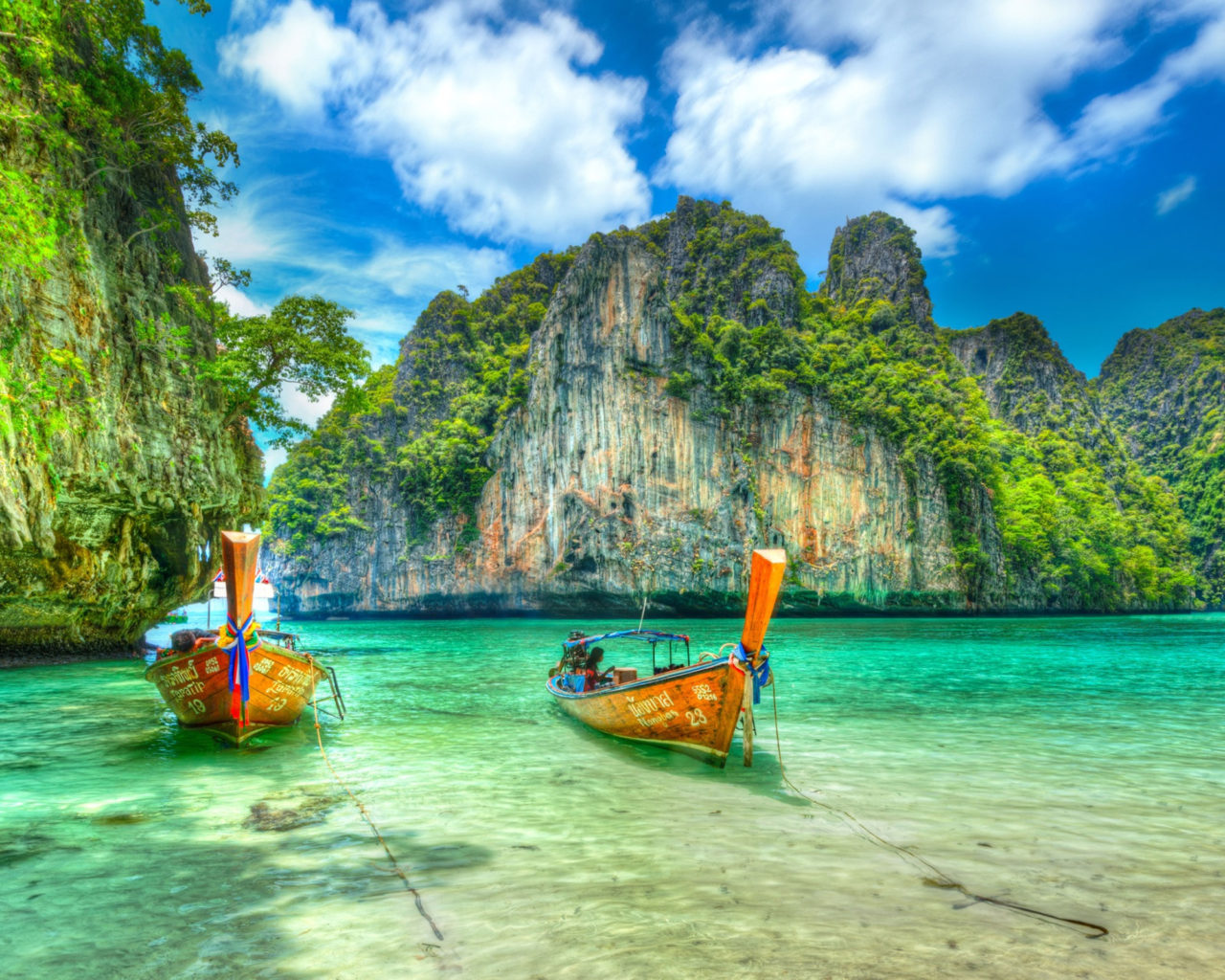 Iphone 5 Panorama Wallpaper Maya Bay Ko Phi Phi Leh In Thailand Boat Exotic Desktop