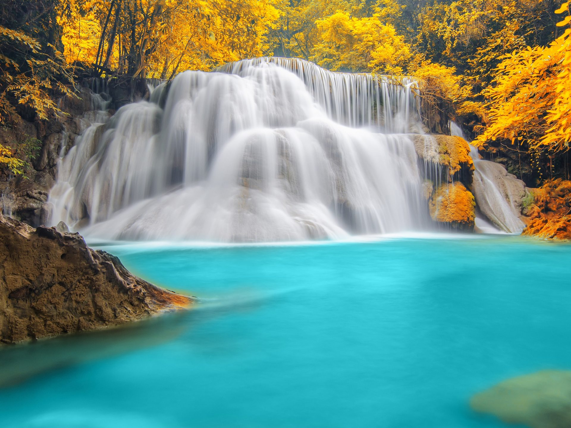 Free Fall Wallpapers 1024x768 Nature Wallpaper Forest Trees River Waterfall Blue Water