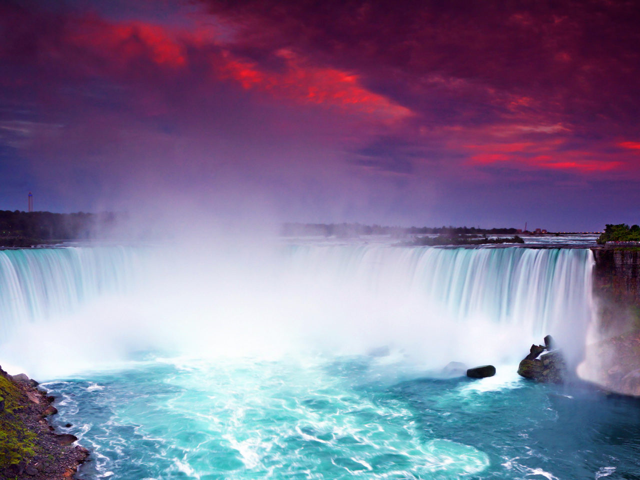 Niagara Falls Waterfall Wallpaper Niagara Falls At Night Lights Hd Wallpaper For Desktop
