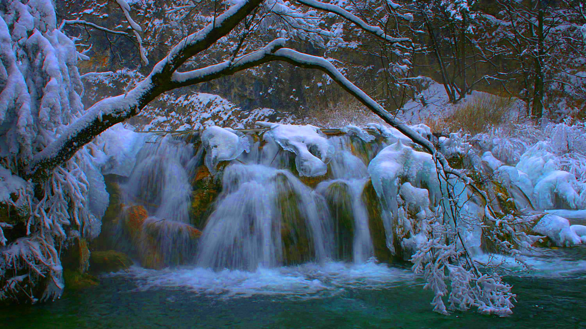 Fall Wallpapers For Tablet Plitvice Waterfall Winter Wallpaper Hd 07942