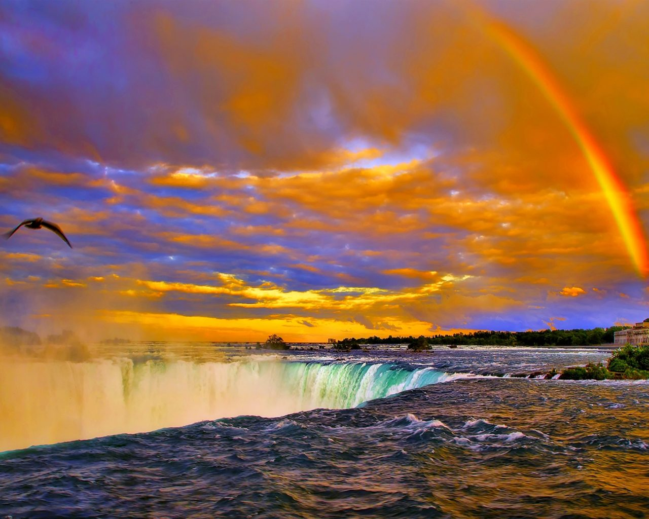 Free Wallpaper Niagara Falls Rainbow Sunset Over Niagara Falls Desktop Background