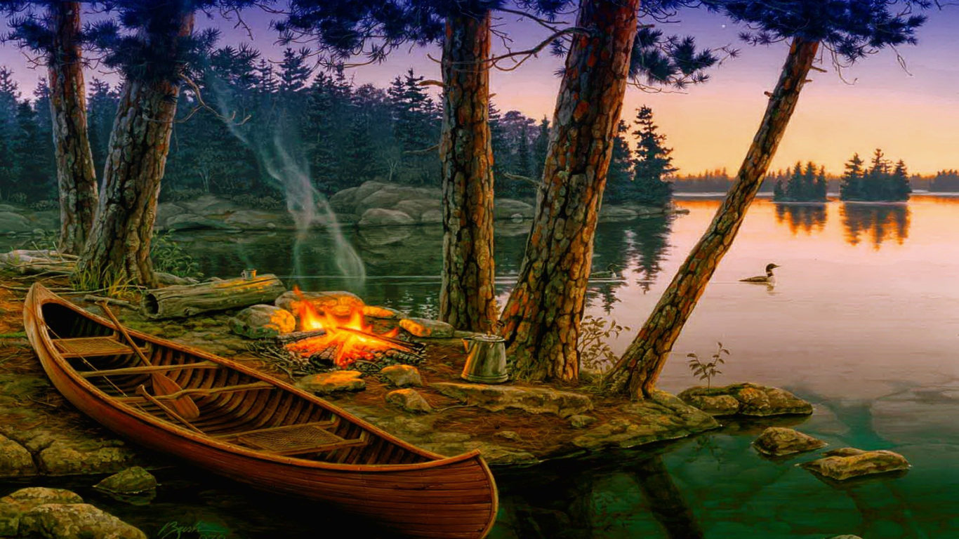 Free Fall Wallpaper With Animals Romantic Background Lake Trees Boat Fire Wallpapers13 Com