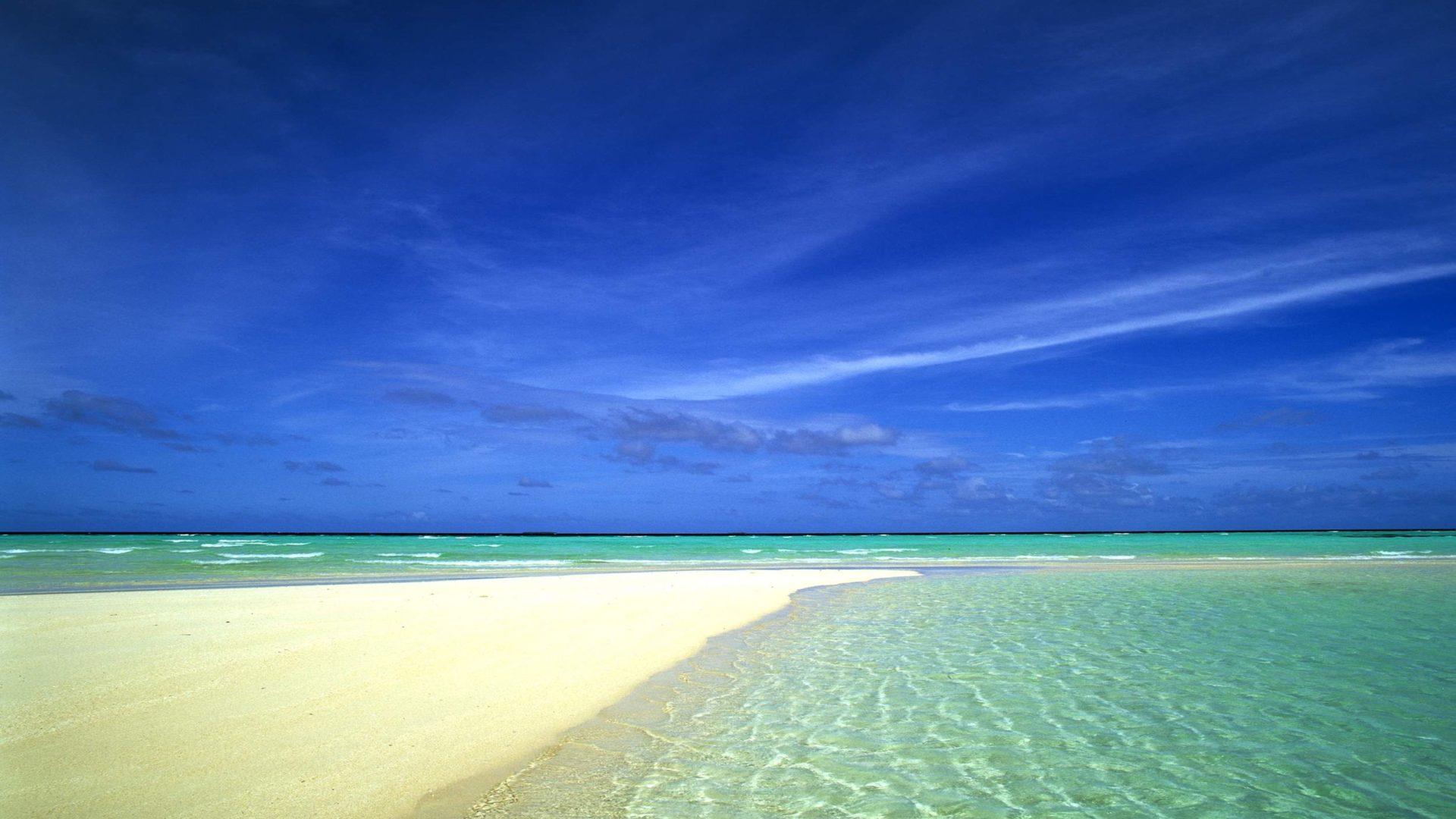 Wallpaper Hd For Windows 10 Free Download Sandy Beach Shallow Blue Sea Sky Summe Wallpapers13 Com