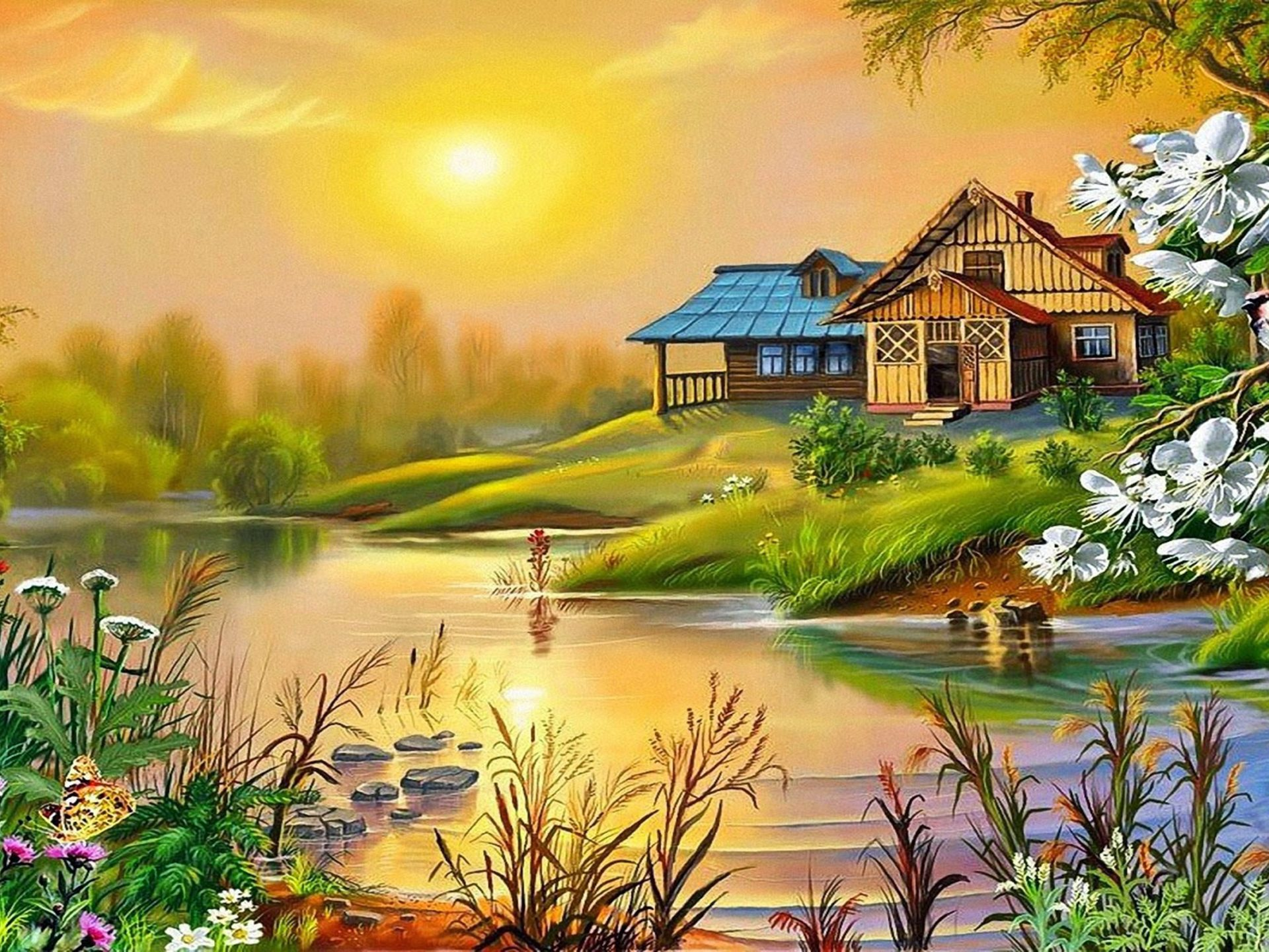 Fall Wallpaper For Tablet Spring Sun House River Bird Blossoming Trees 0534