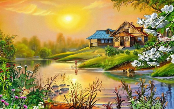 Spring Sun House River Bird Blossoming Trees 0534