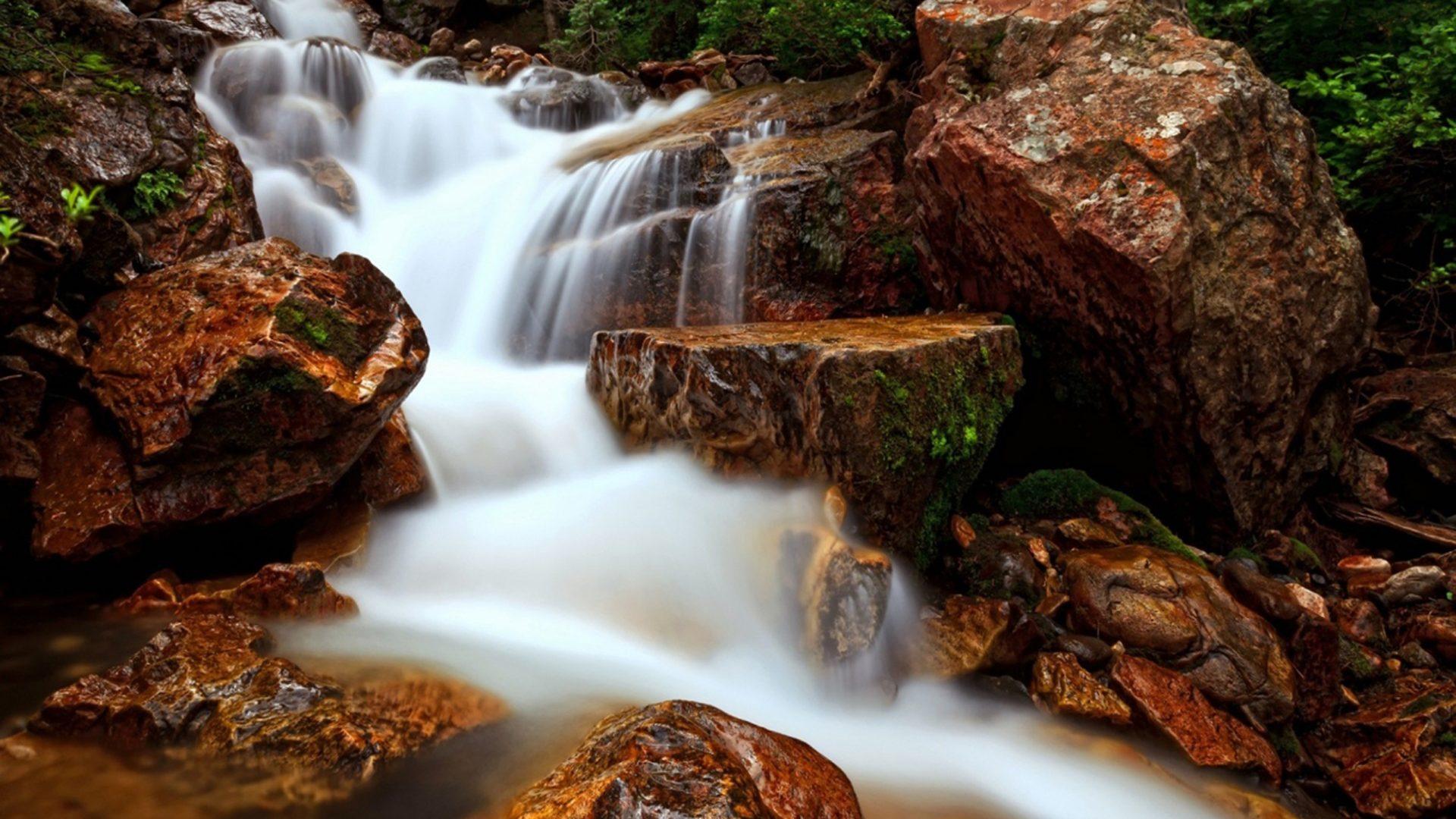 Nature Wallpaper Autumn Fall 1600x1200 Waterfall Flow Water Rock Beautiful Hd Wallpaper