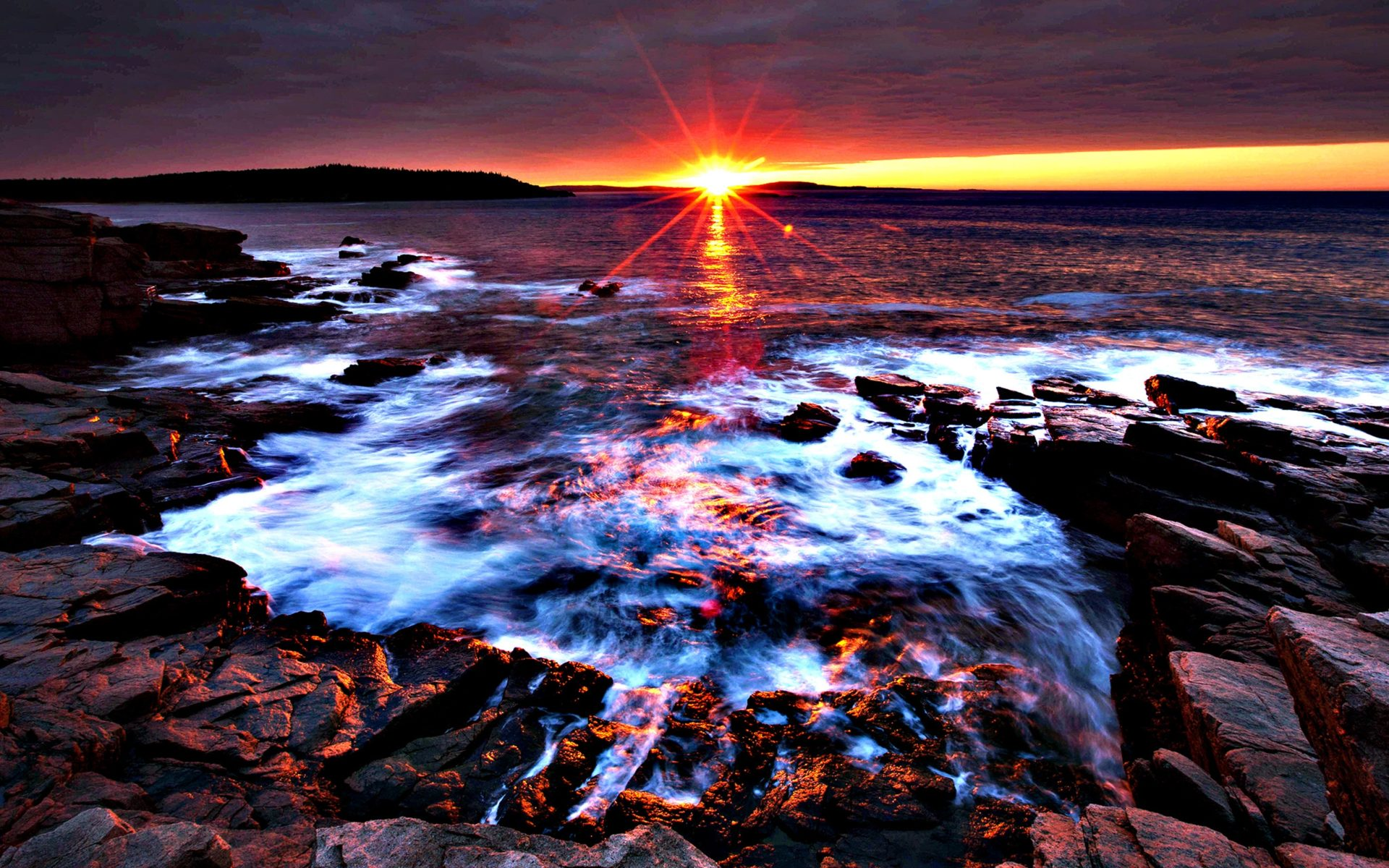 Fall Wallpaper For Android Sunset At Acadia National Park Maine Desktop Background