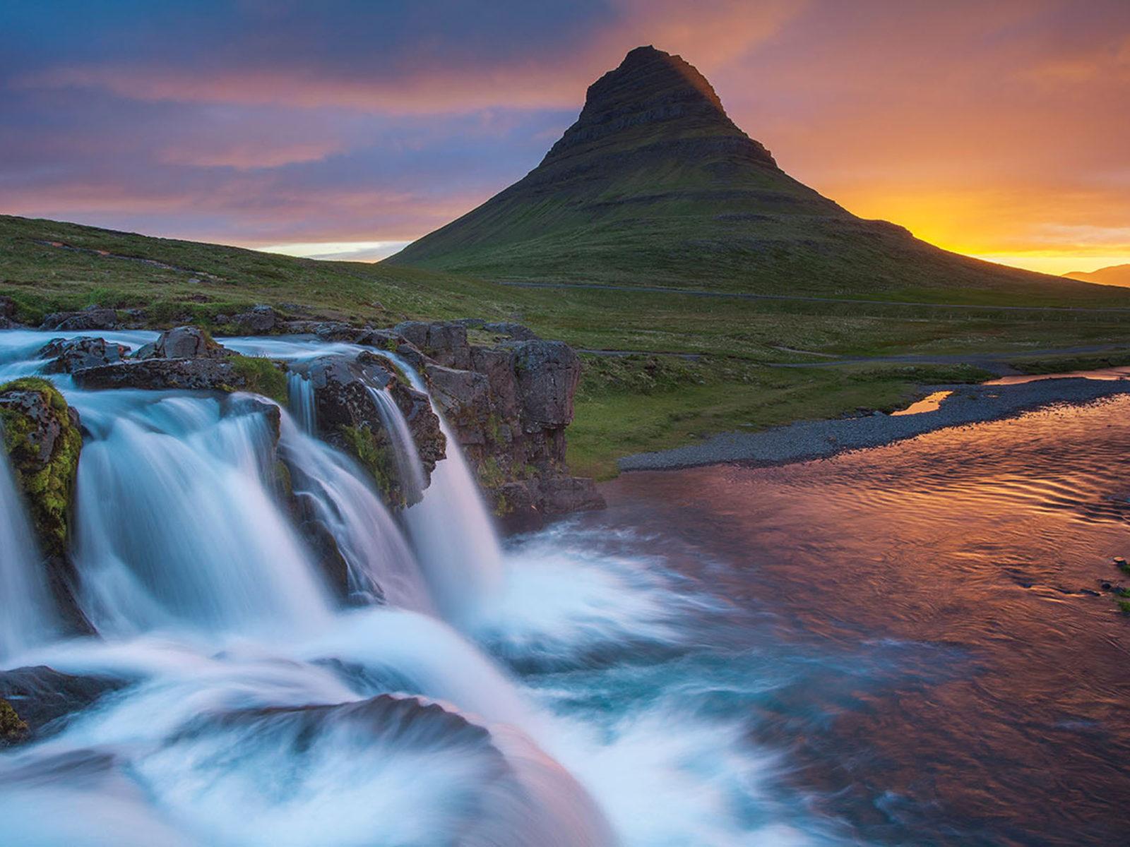 Iphone Wallpaper Waterfall Wallpaper Hd Kirkjufell Iceland Waterfall River Mountain