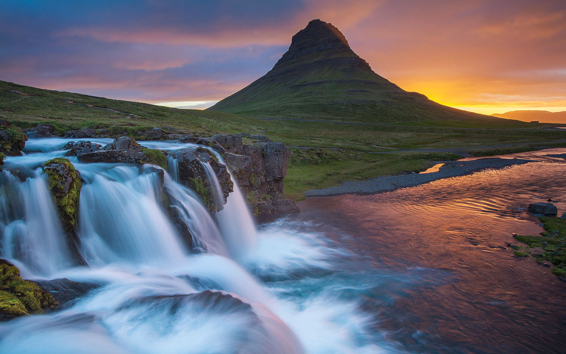Falls Hd Wallpaper Free Download Wallpaper Hd Kirkjufell Iceland Waterfall River Mountain