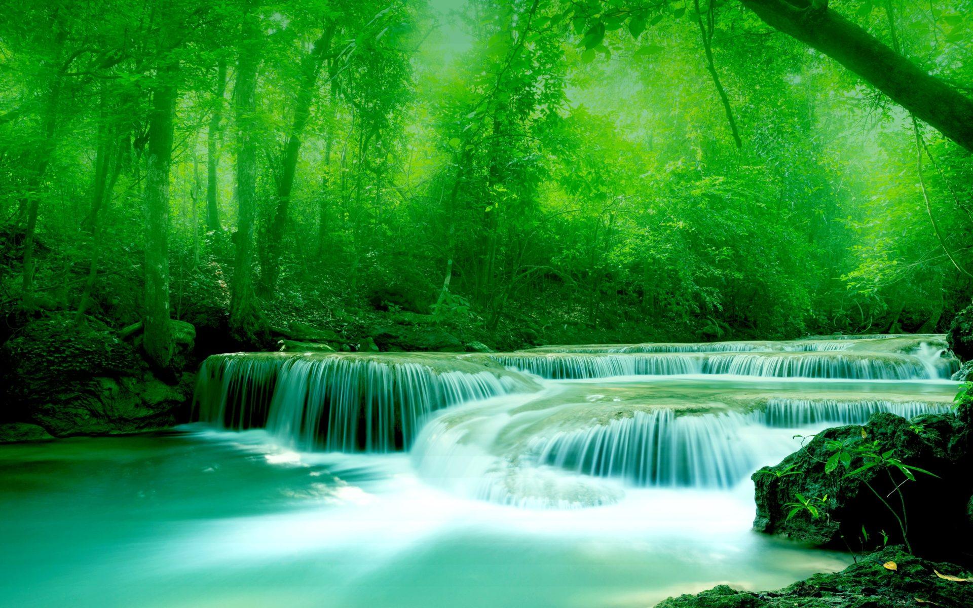 Kuang Si Falls Hd Wallpaper 1920 Wallpaper River Water Rocks Trees Greenery Free