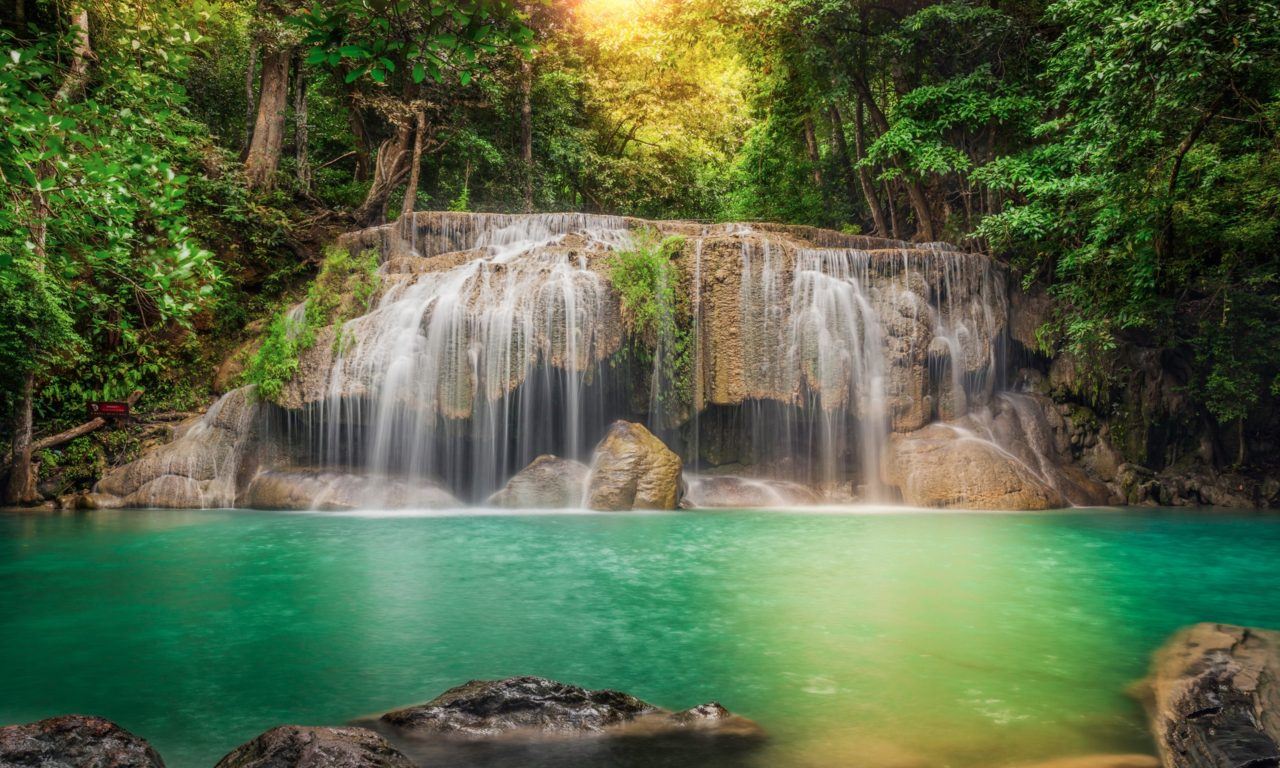 Fall Wallpaper Water Thailand Stream Cascade Rocks Jungles Waterfalls Forest