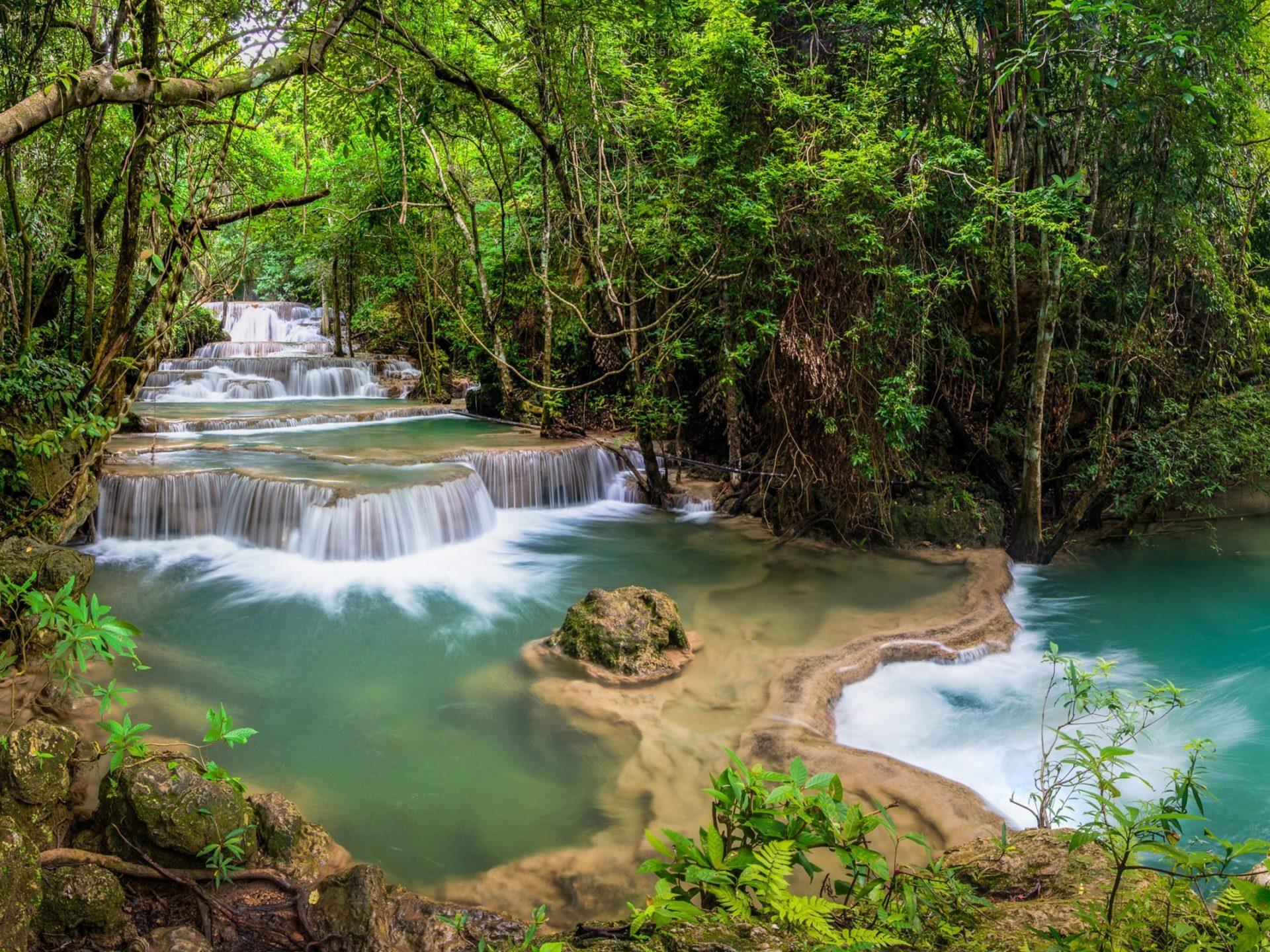 Waterfalls Desktop Wallpaper Forest Falls Waterfall Kanjanaburi Thailand River Jungle Forest